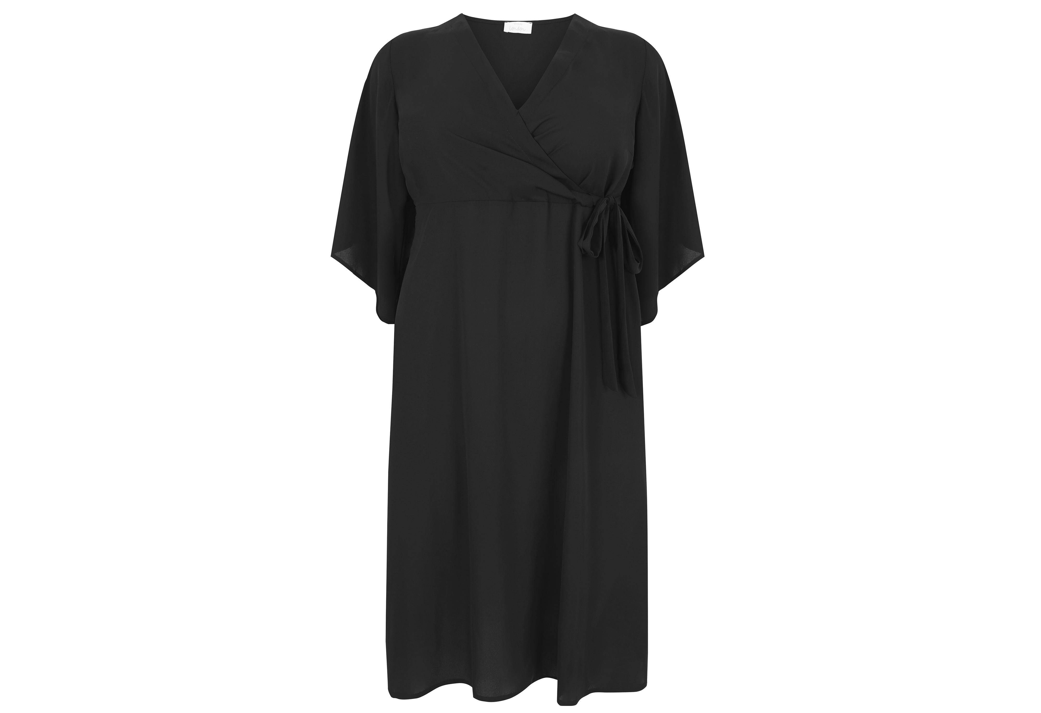 Yours London Black Wrap Dress With Tie Waist