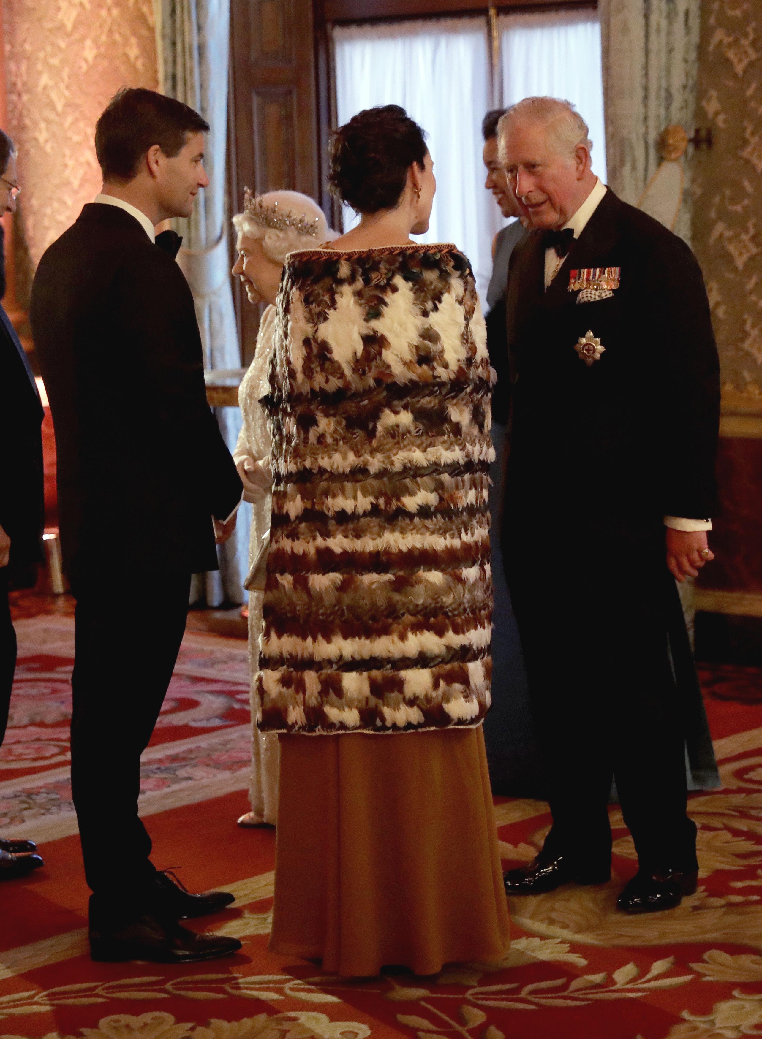 Jacinda Ardern in the traditional Maori cloak