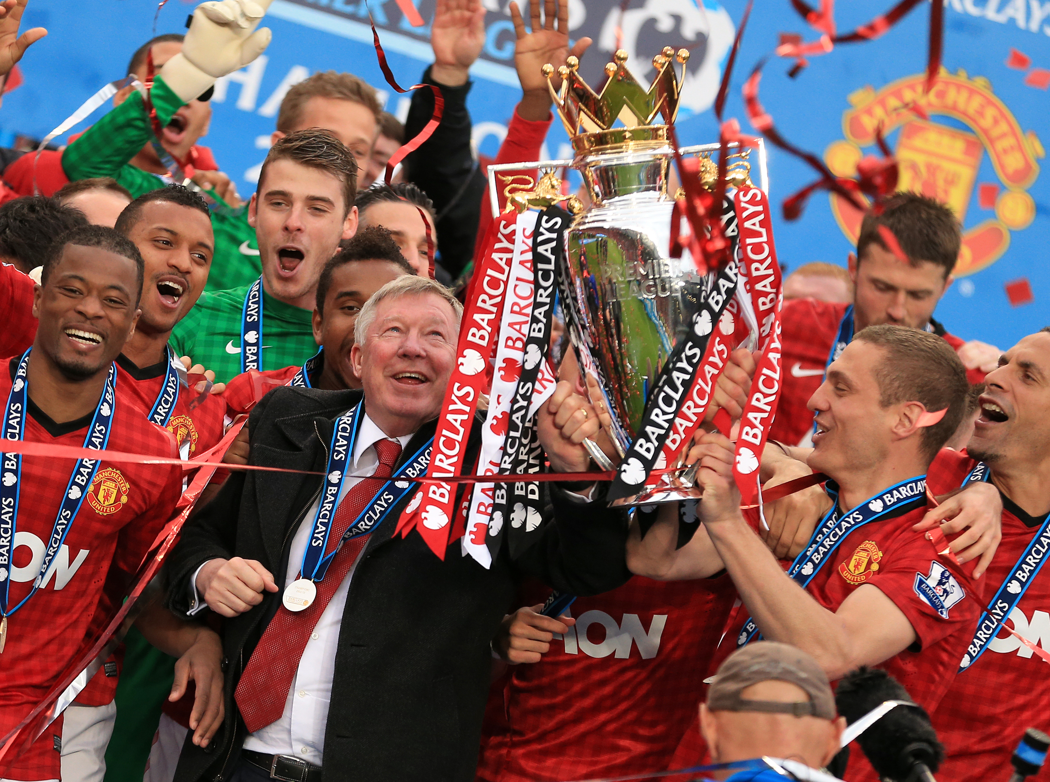 Sir Alex Ferguson celebrates winning the Premier League in 2013