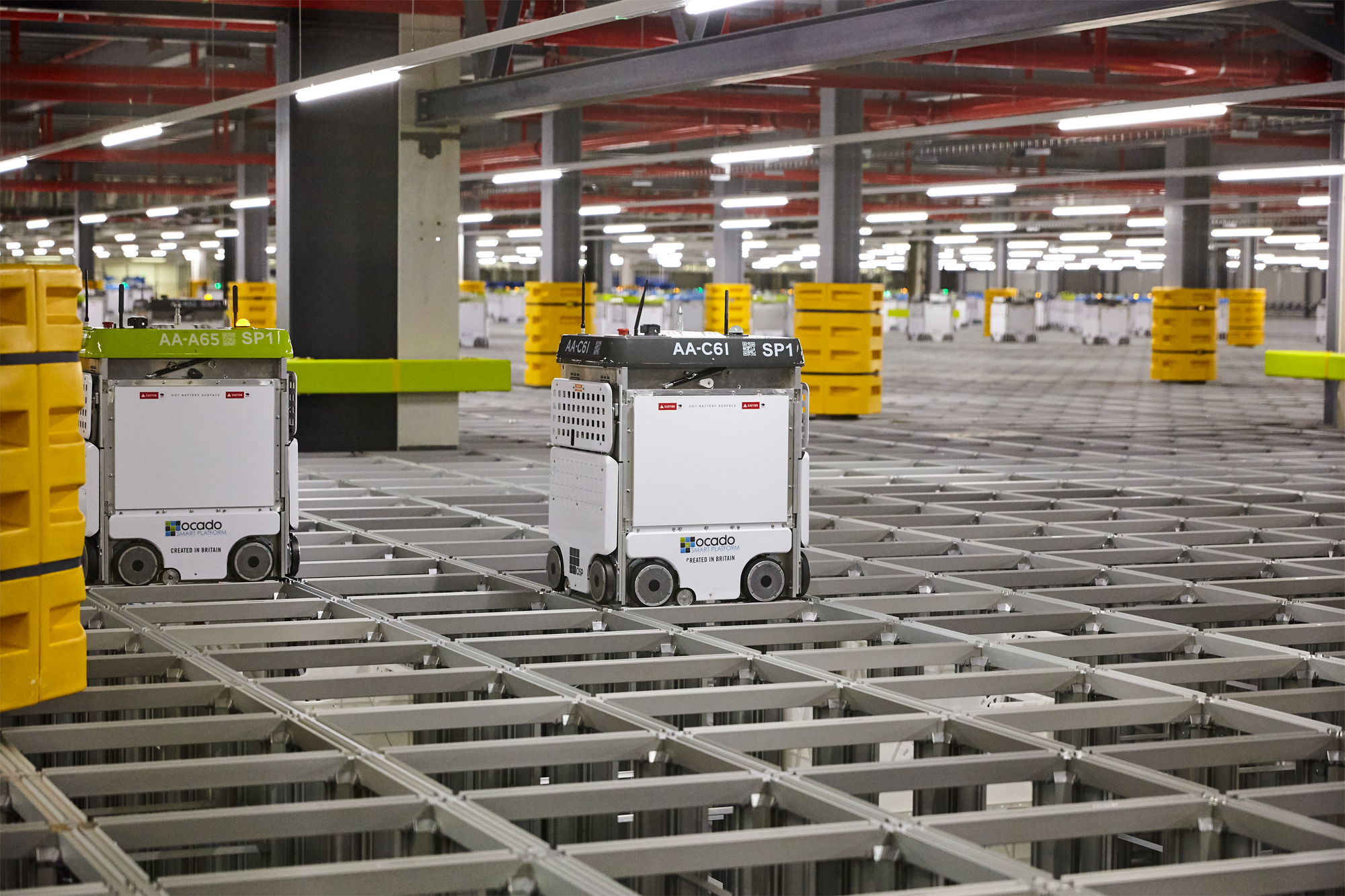 Ocado robots at work at the Andover warehouse (Ocado Technology)