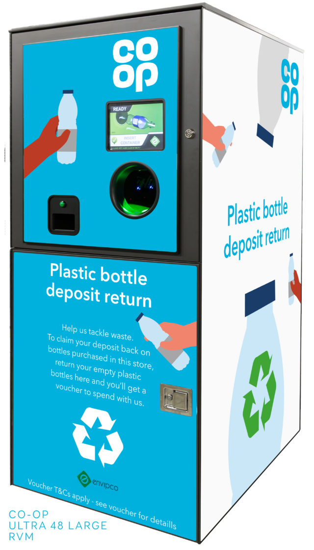 The drinks bottle reverse vending machines will give people vouchers to spend at pop-up Co-op stores on site (Co-op/PA)