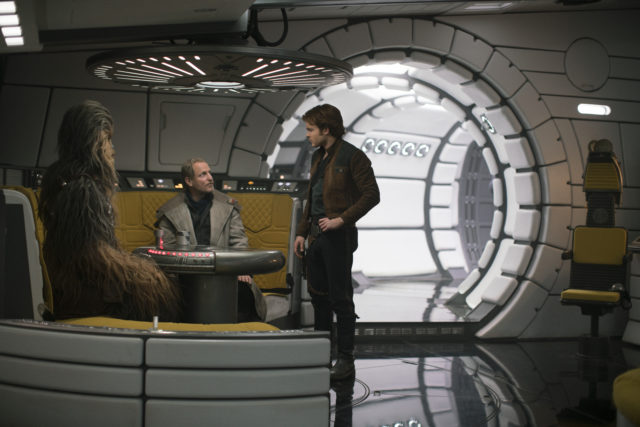 Joonas Suotamo as Chewbacca Woody Harrelson as Beckett and Alden Ehrenreich as Han Solo
