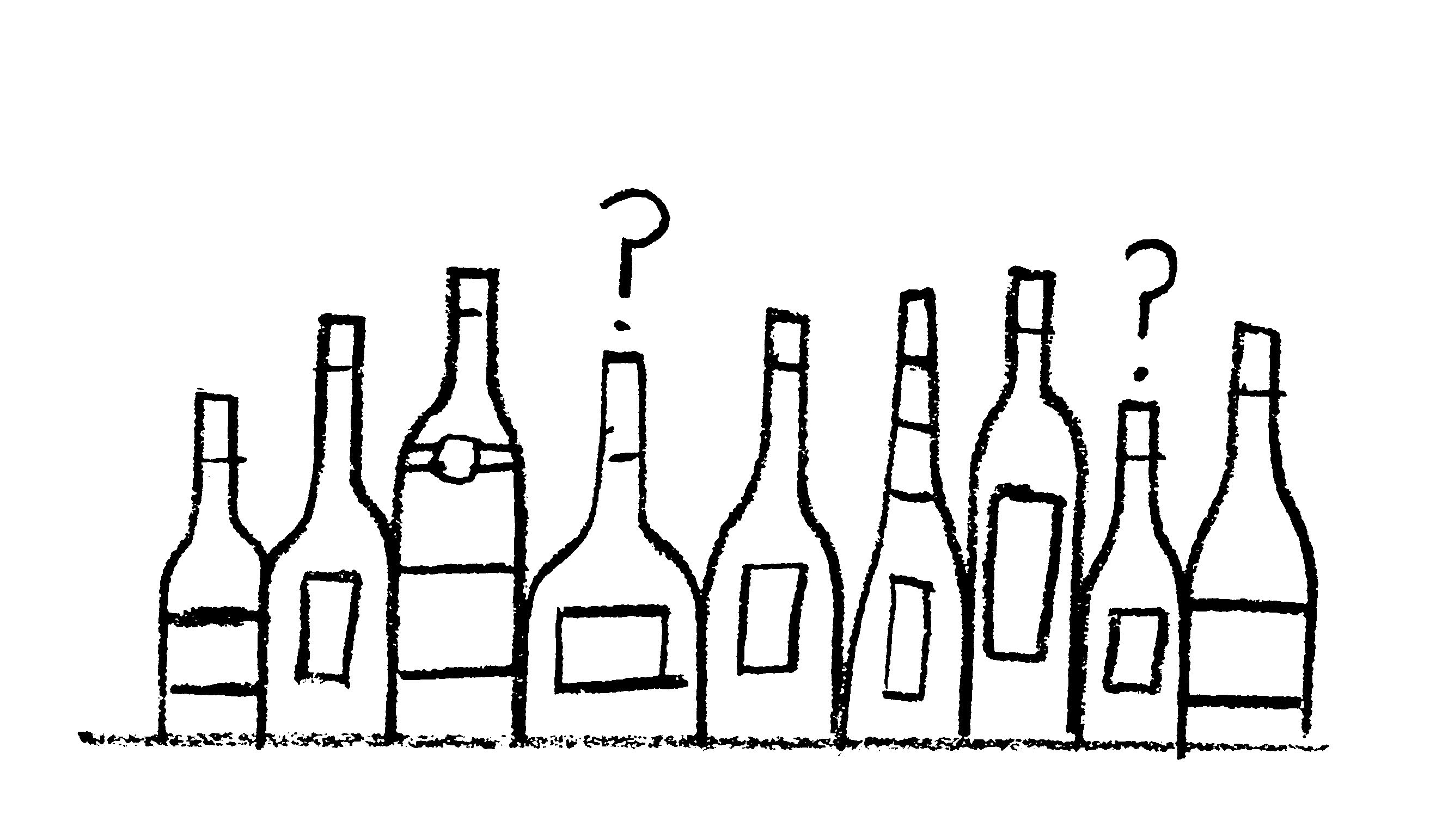 Illustration of bottles of wine with question mark