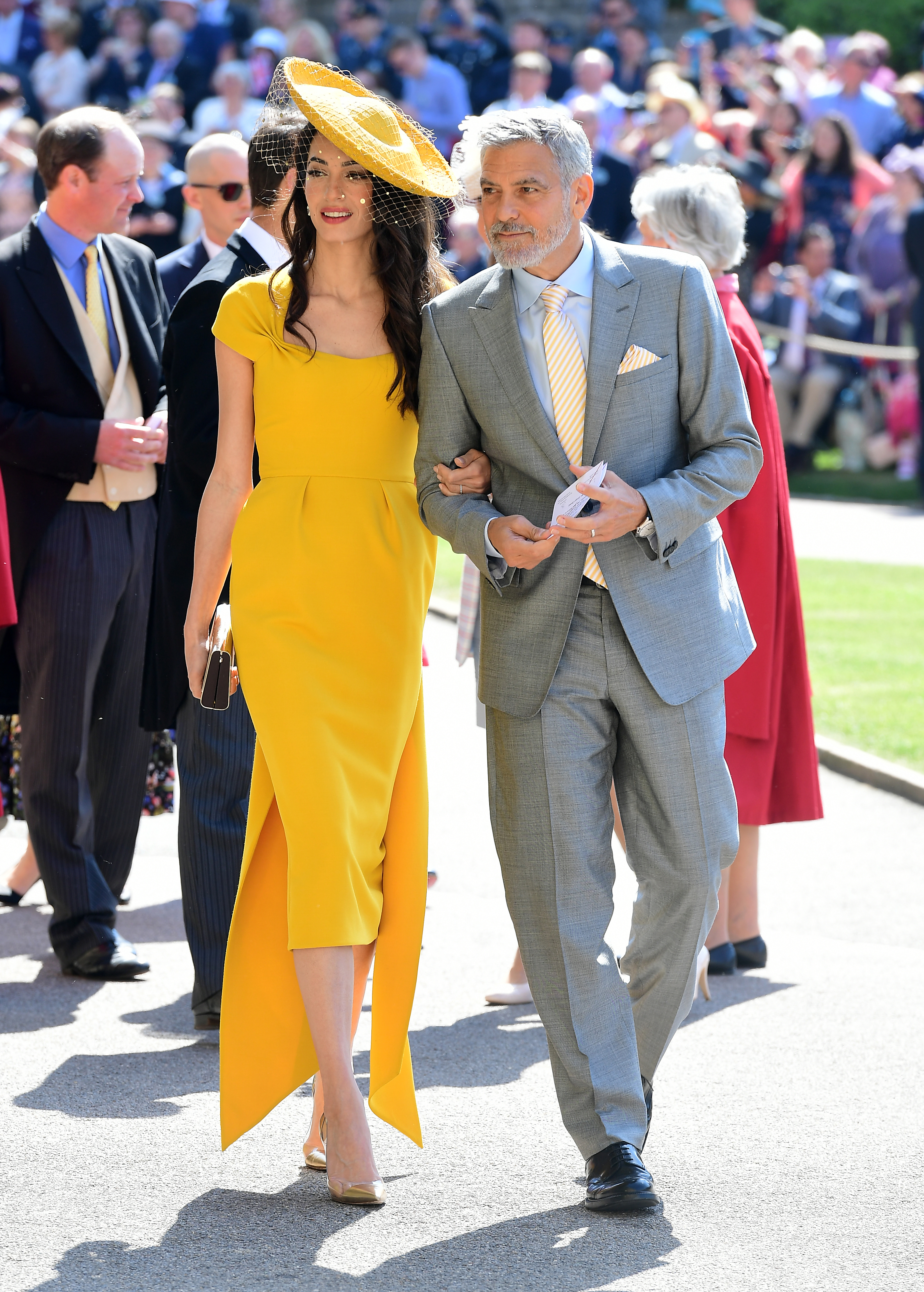 Amal and George Clooney arrive at St George's Chapel at Windsor Castle for the wedding of Meghan Markle and Prince Harry. (Ian West/PA)