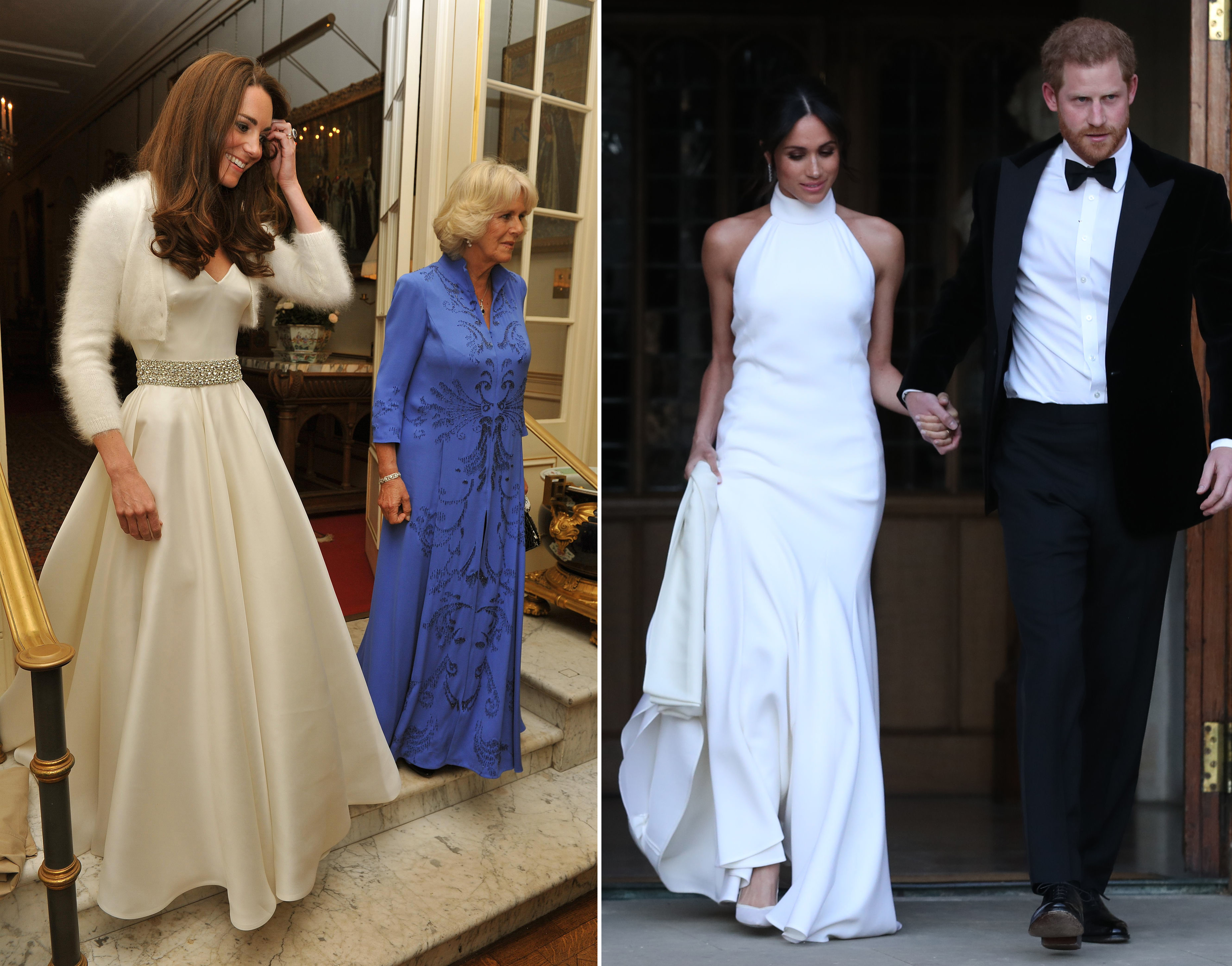 How Did Meghan's Evening Reception Gown Compare To Kate's
