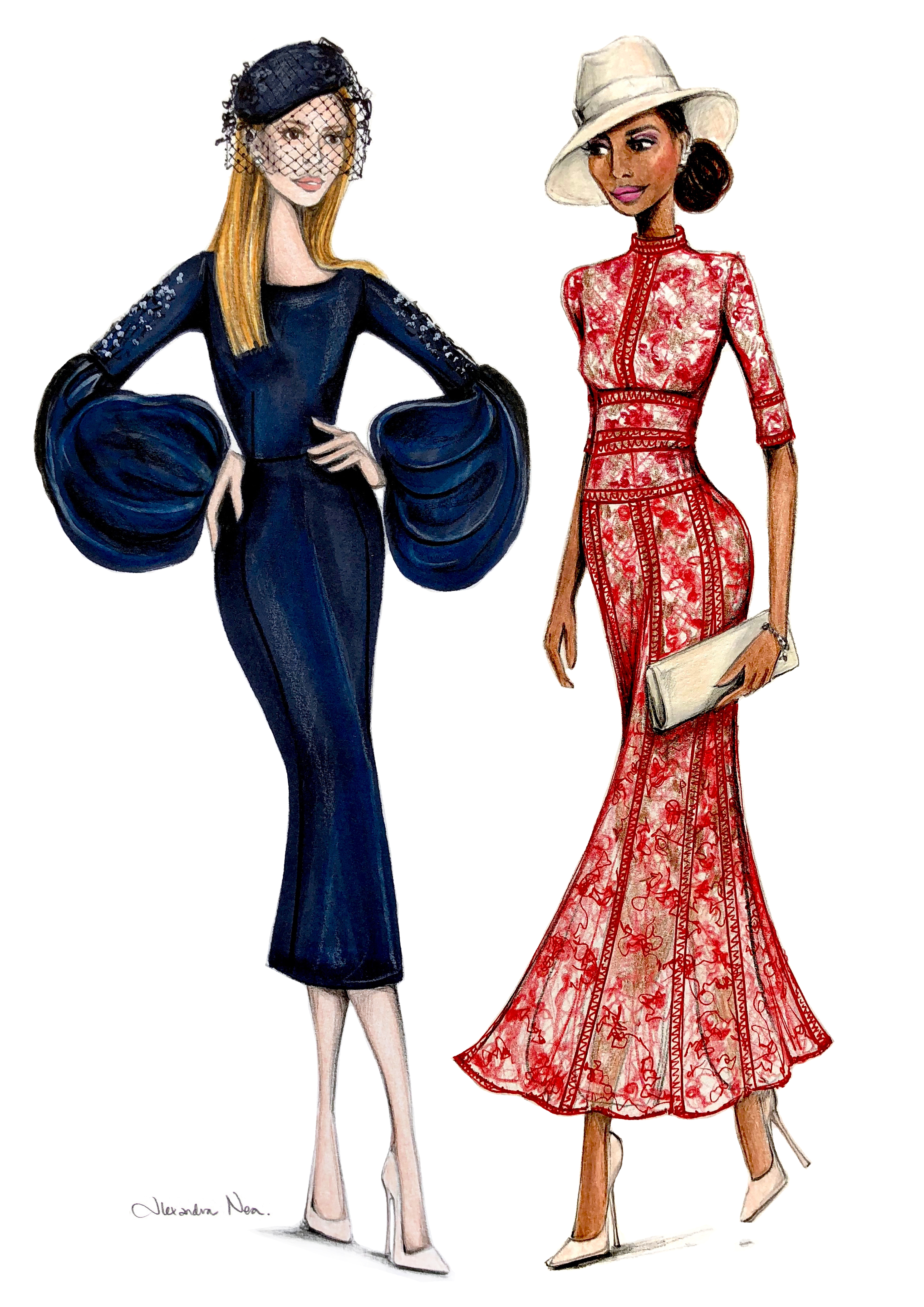 Illustration of royal wedding guests Sarah Rafferty and Gina Torres created by illustrator Alexandra Nea (Alexandra Nea)