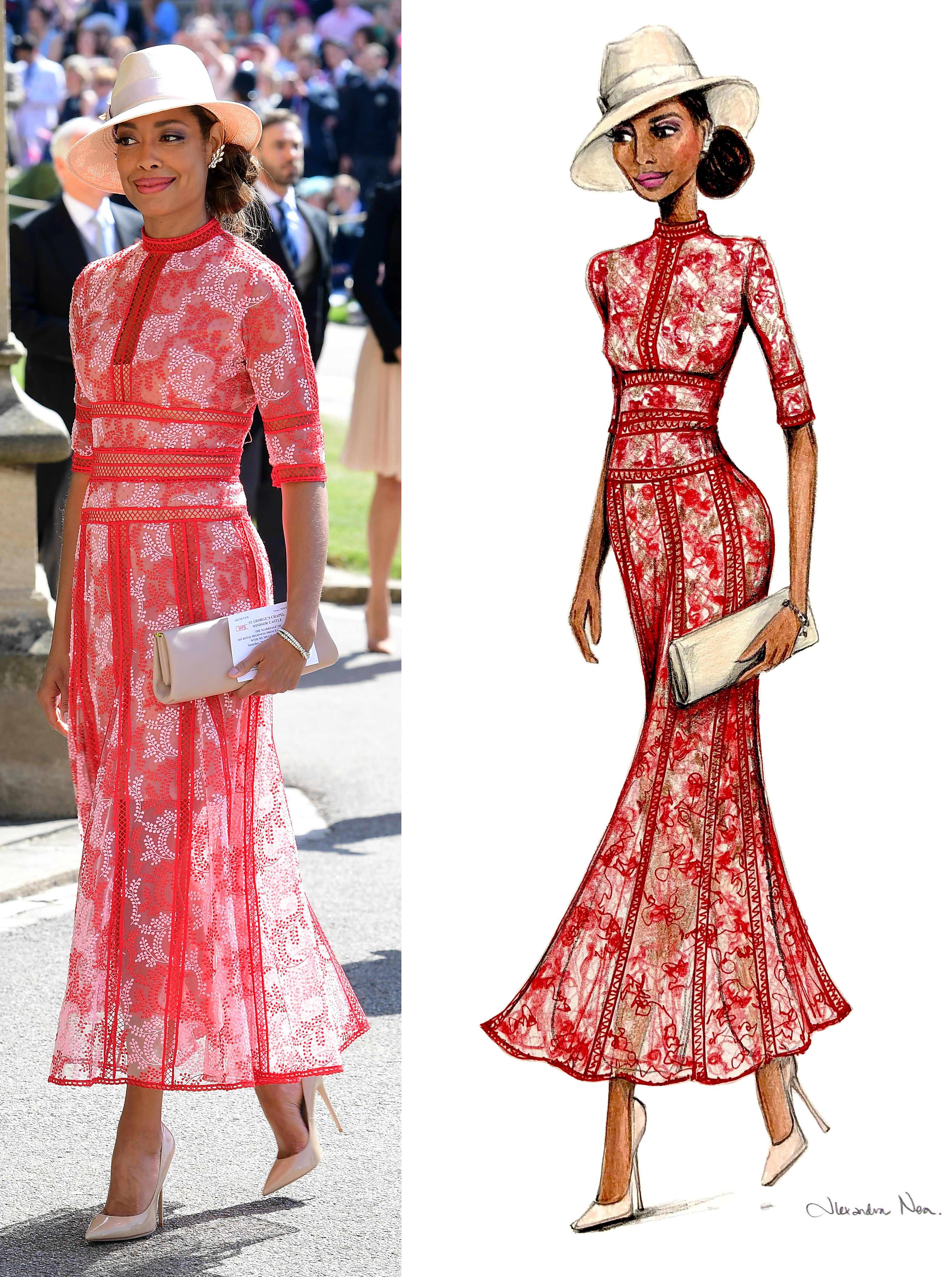 Gina Torres at the royal wedding and as recreated in a sketch by Alexandra Nea  (Ian West/PA/Alexandra Nea)