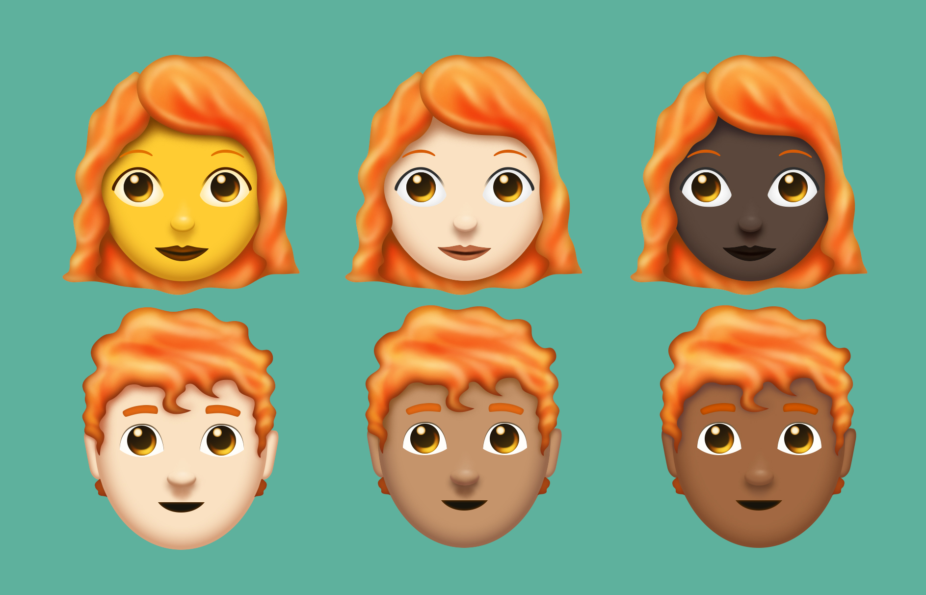 Red-haired emoji (Emojipedia)