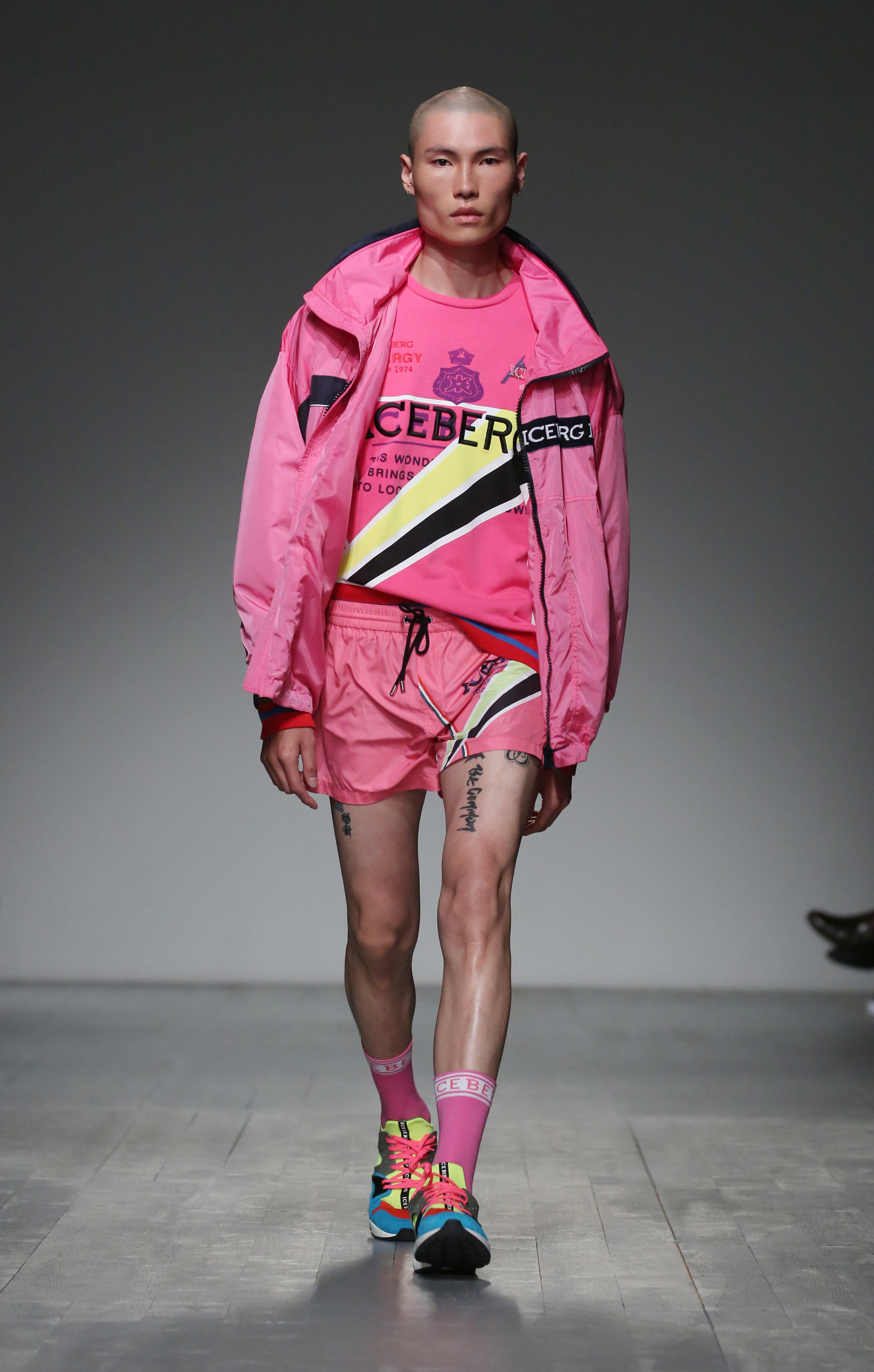 A model on the catwalk during the ICEBERG London Fashion Week Men's SS19 show held at BFC Show Space, London.