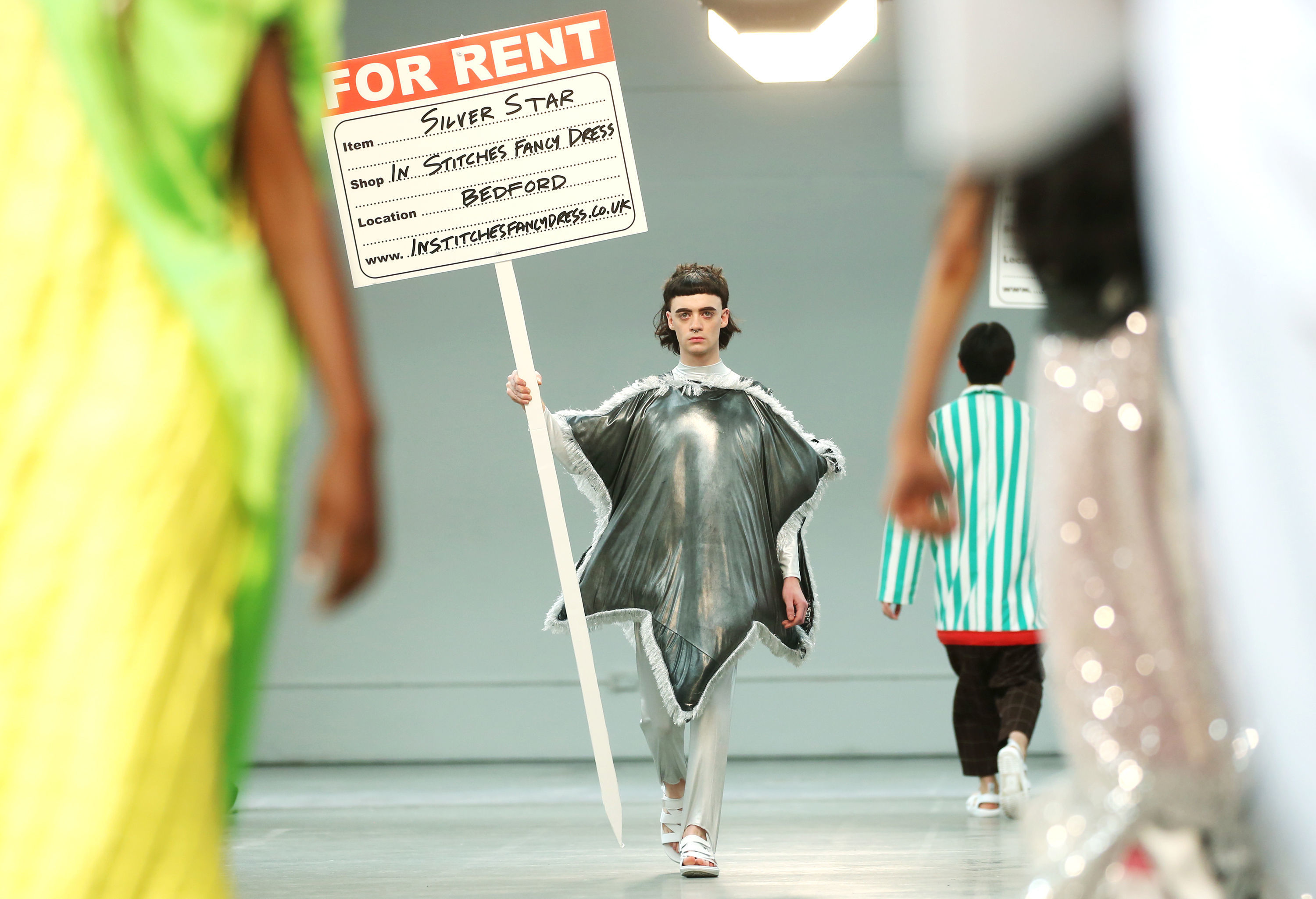 A model on the Rottingdean Bazaar catwalk during the MAN show at London Fashion Week Men's SS19 show held at the BFC Show Space, London.