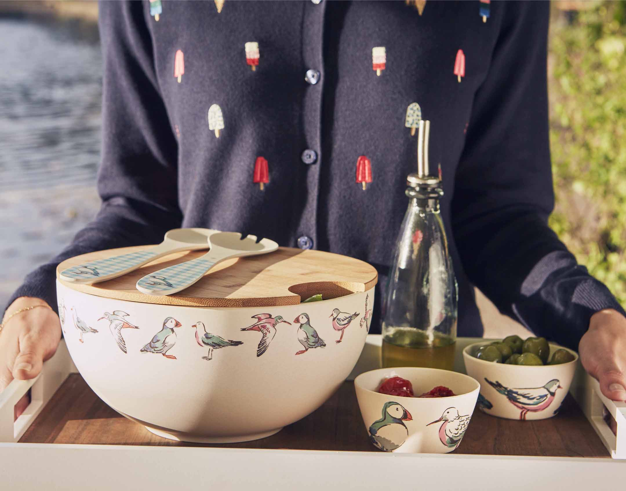 Cath Kidston Sea Birds salad bowl, servers and dip tray