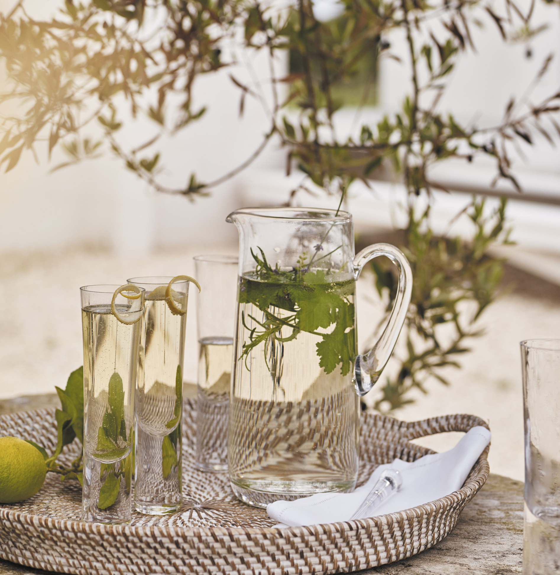 Cocktail Jug with stirrer and selection of glasses, The White Company