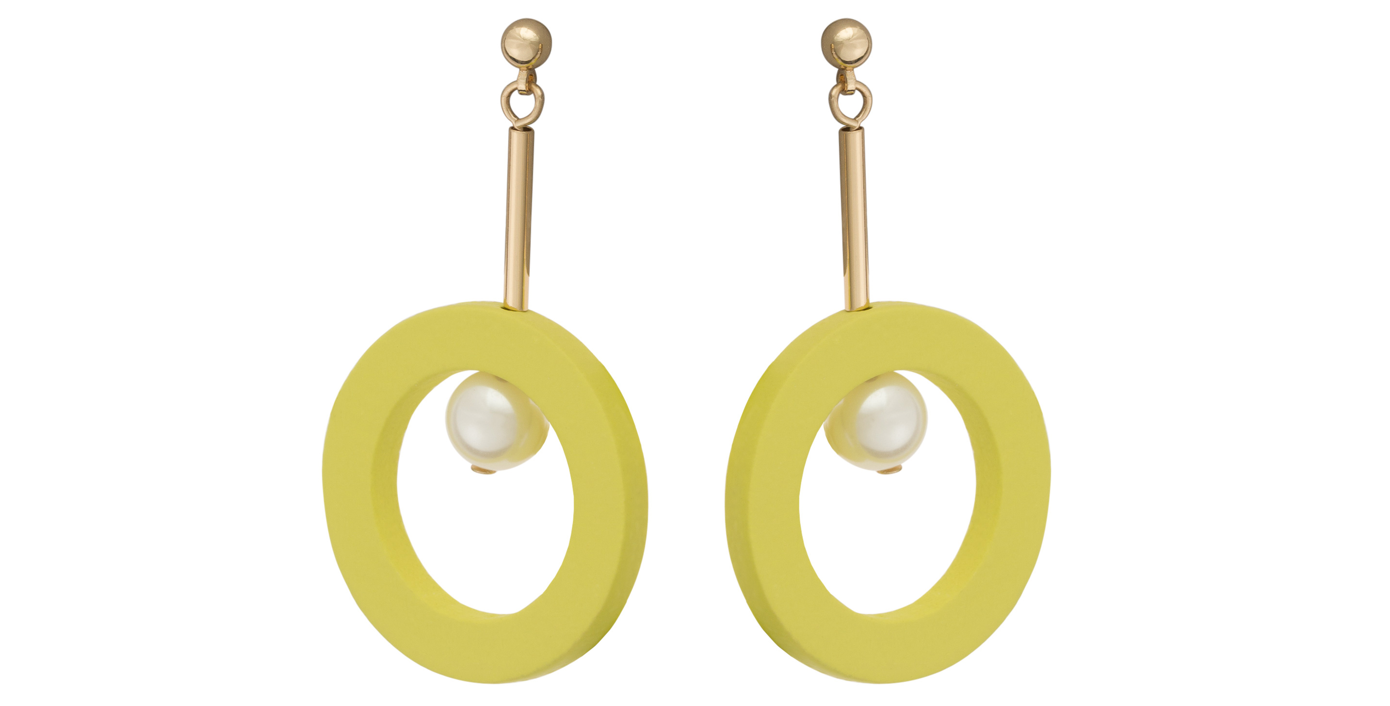 Oliver Bonas Alveo Wood & Pearl Earrings