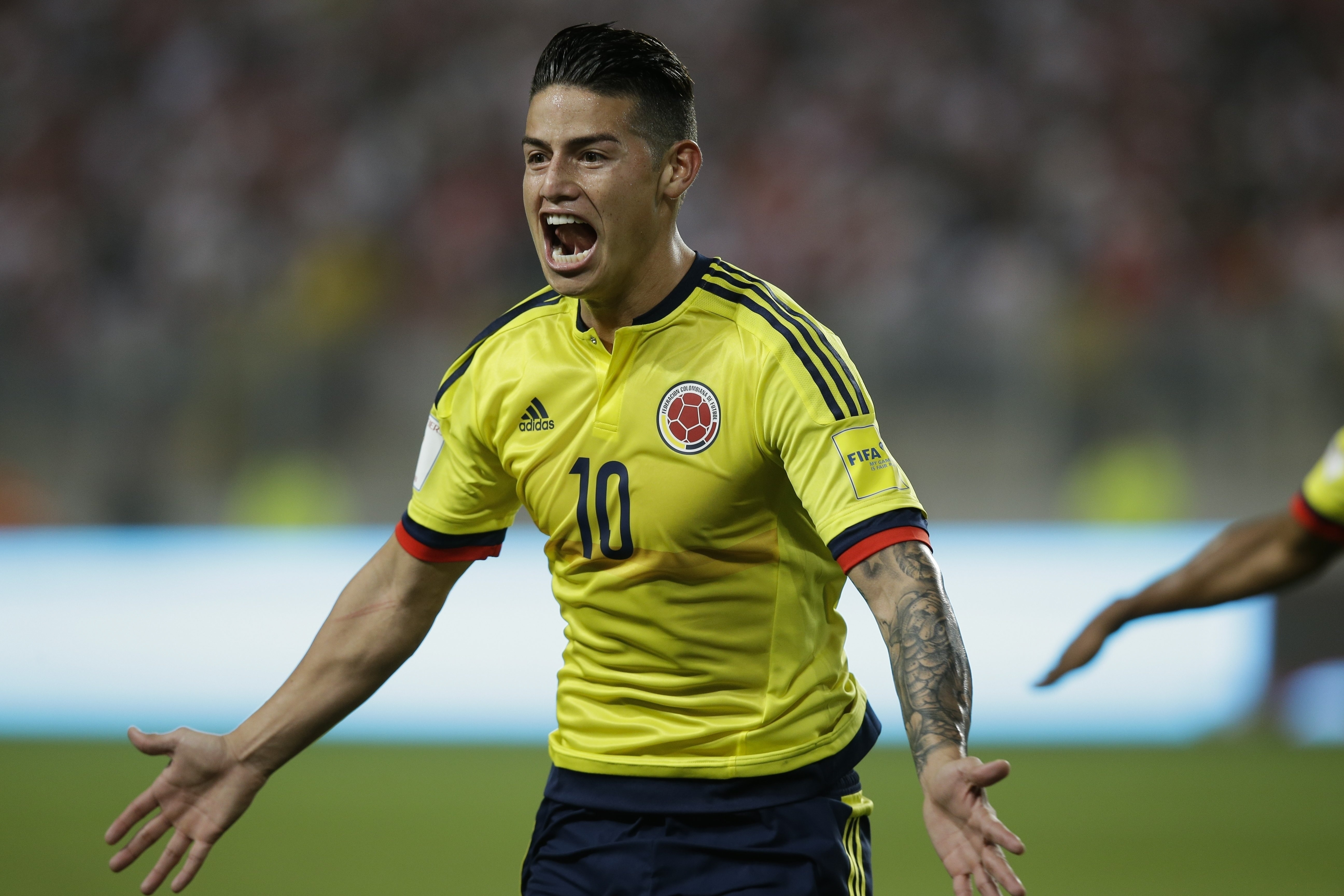 Colombia's James Rodriguez celebrates a goal