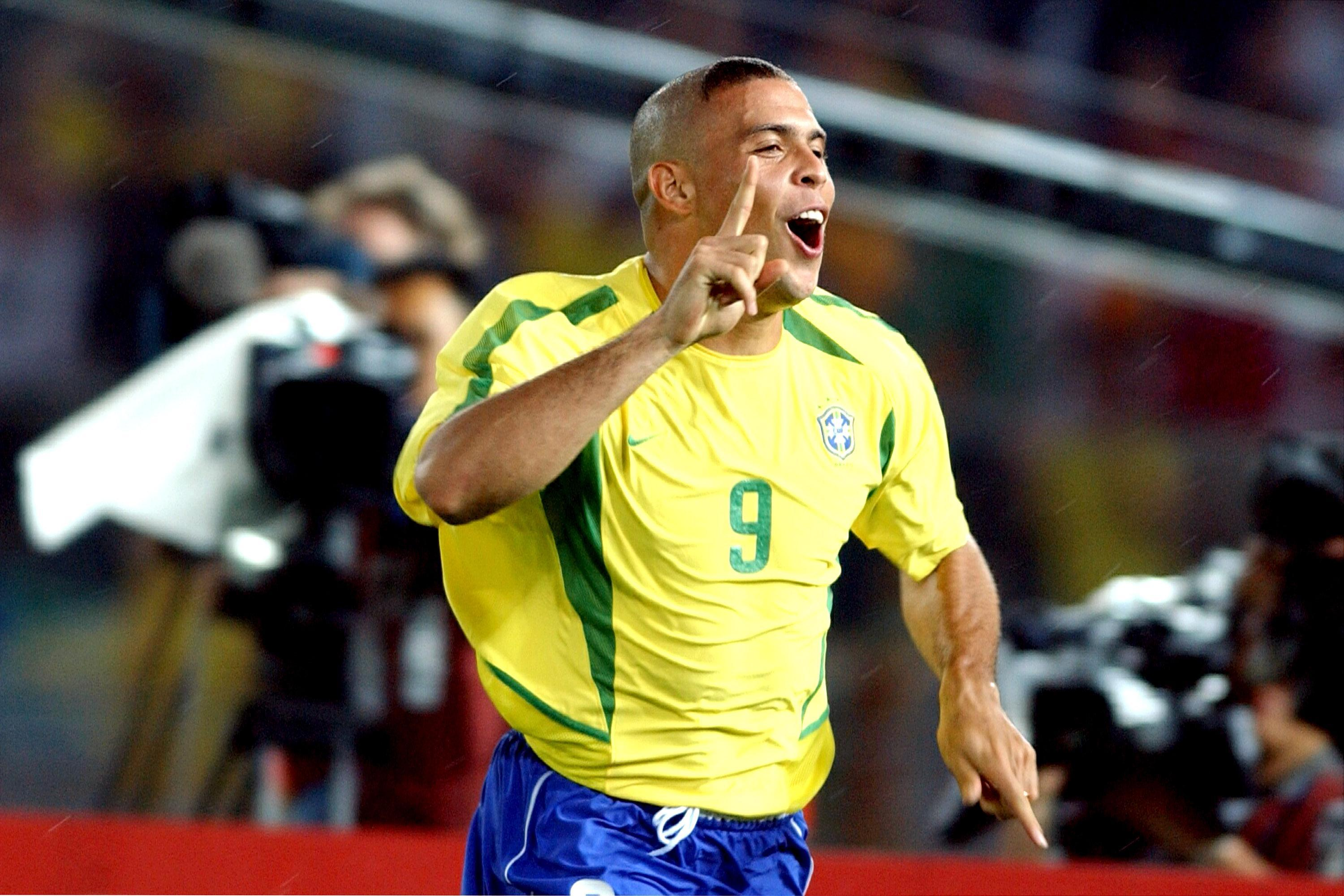 Brazil's Ronaldo celebrates scoring at the 2002 World Cup