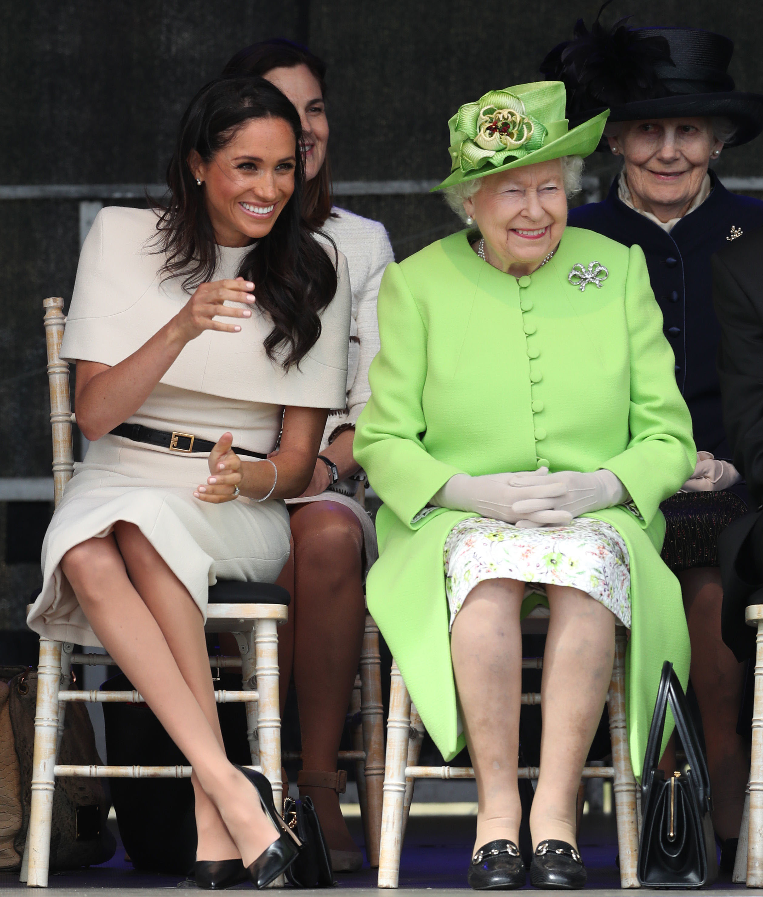 Queen Elizabeth II and the Duchess of Sussex at the opening of the new Mersey Gateway Bridge, in Widnes, Cheshire.
