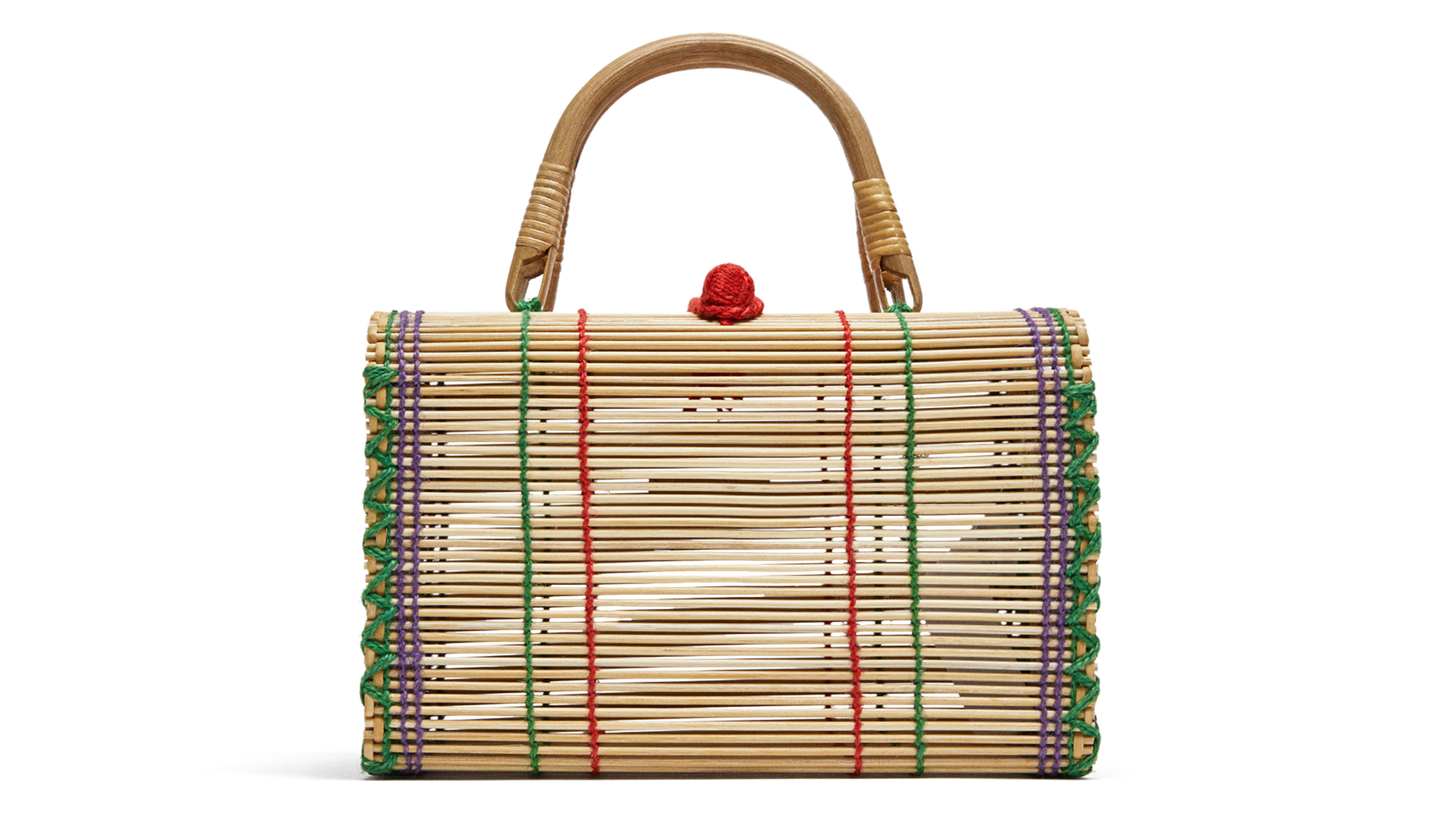 Zara Multicoloured Straw Bag with Topstitching Detail,