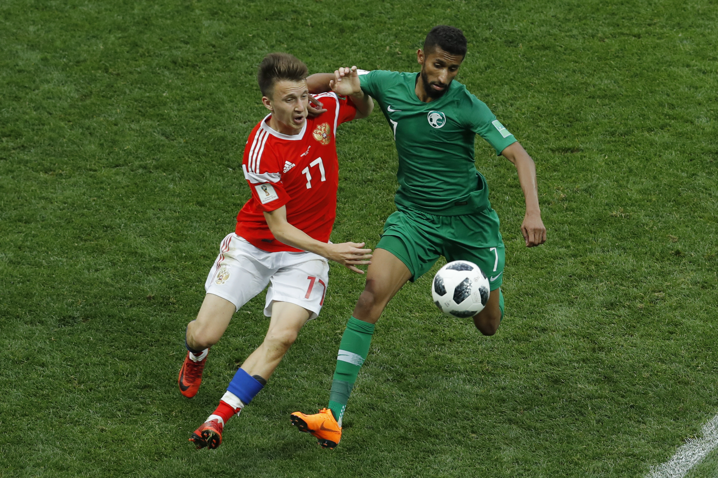 Russia and Saudi Arabia contest the first game of the 2018 World Cup