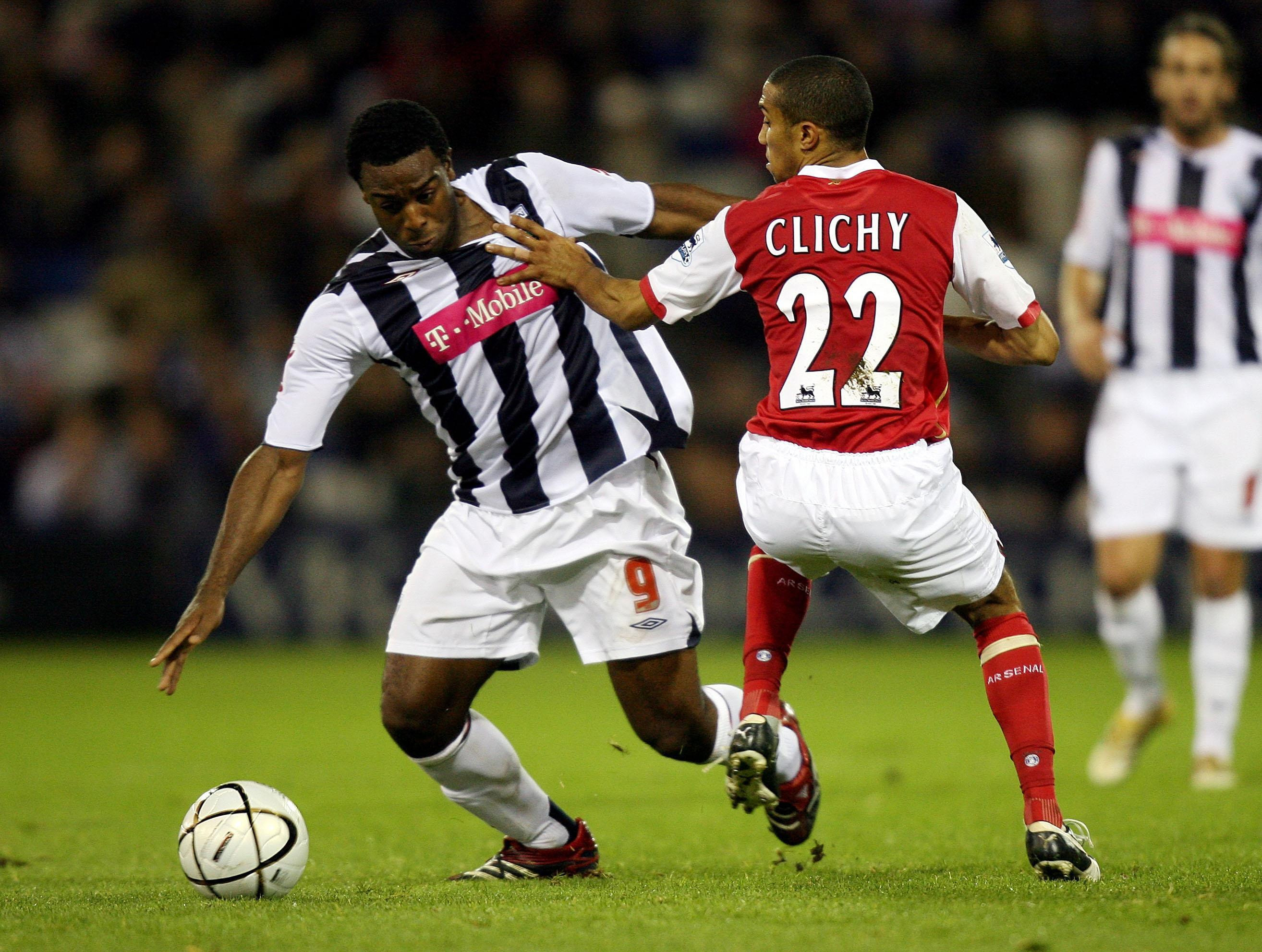 Former West Brom footballer Nathan Ellington plays against Arsenal