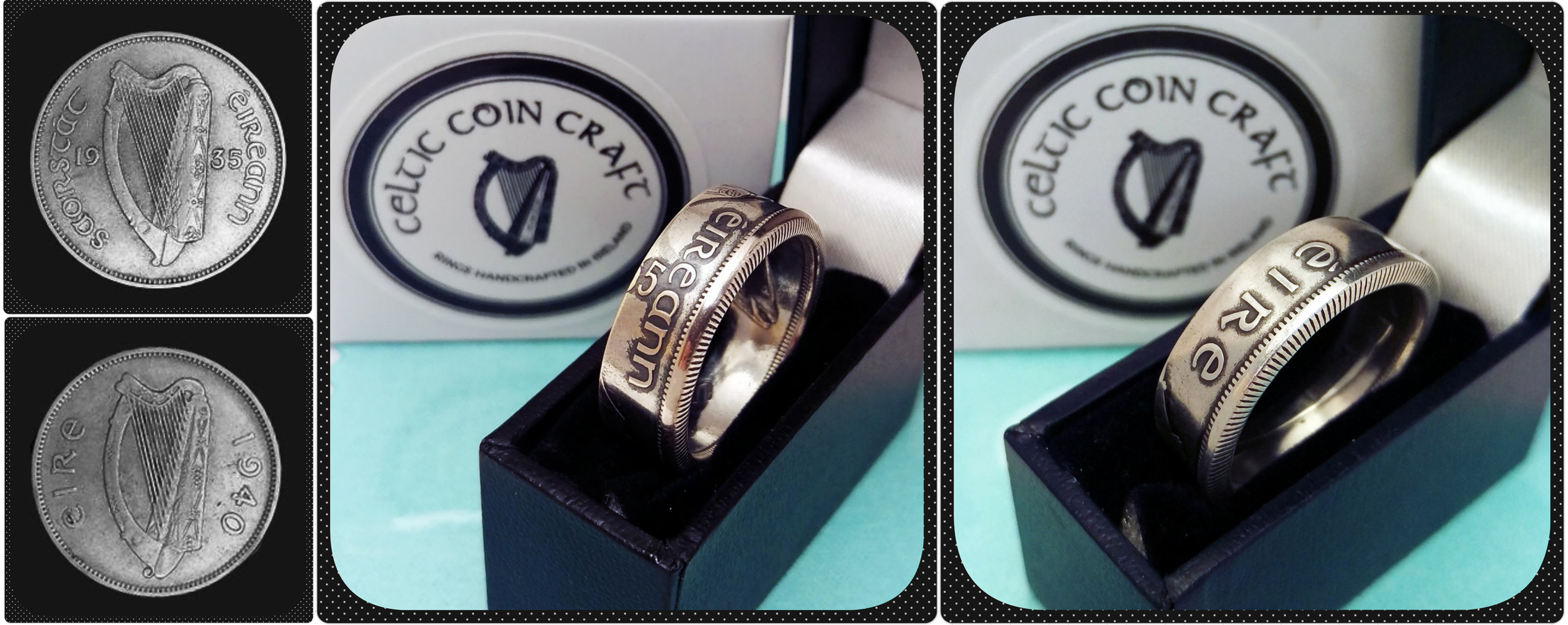 Two rings made from coins by Celtic Coin Craft