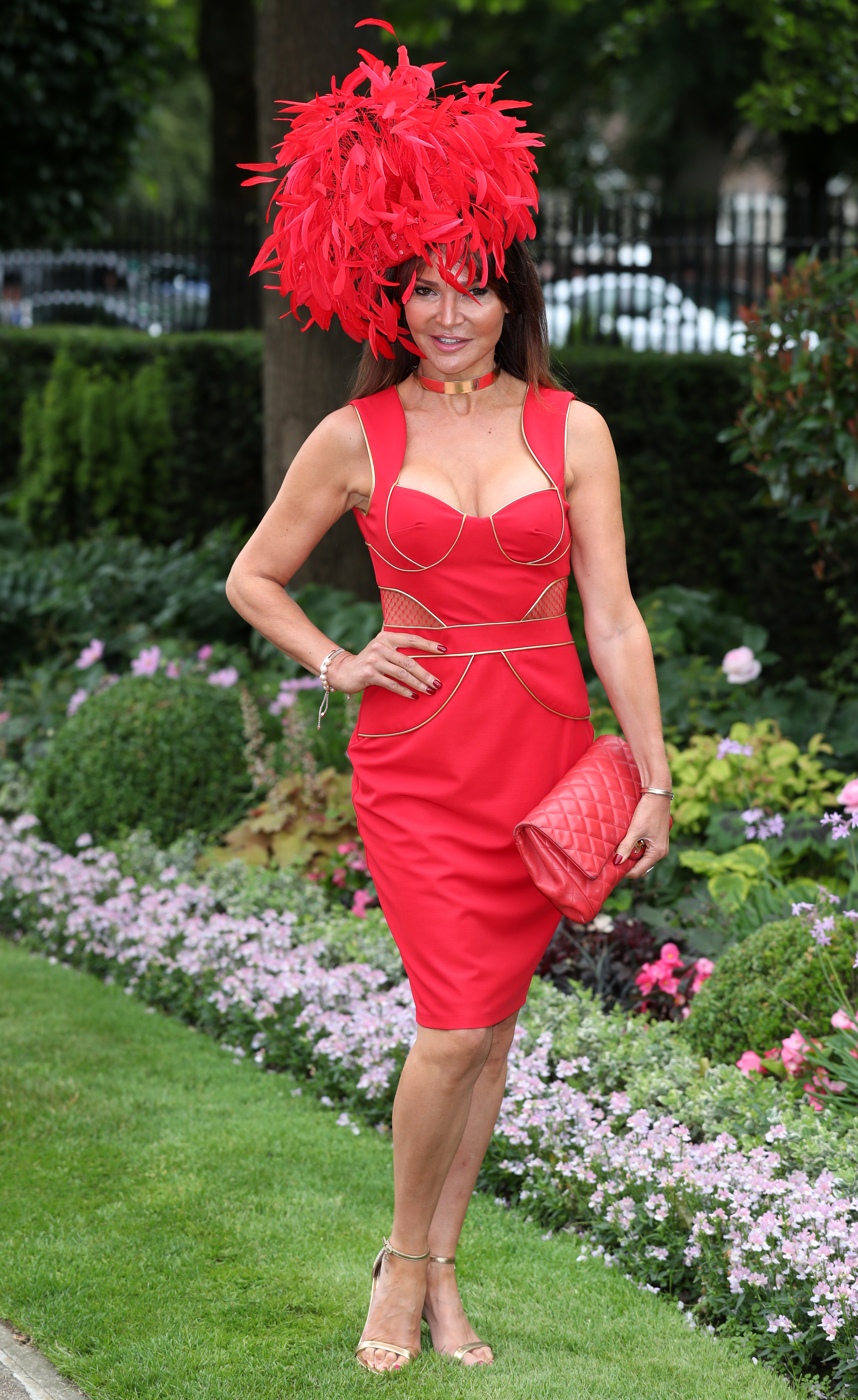 Red feather hat at Ascot
