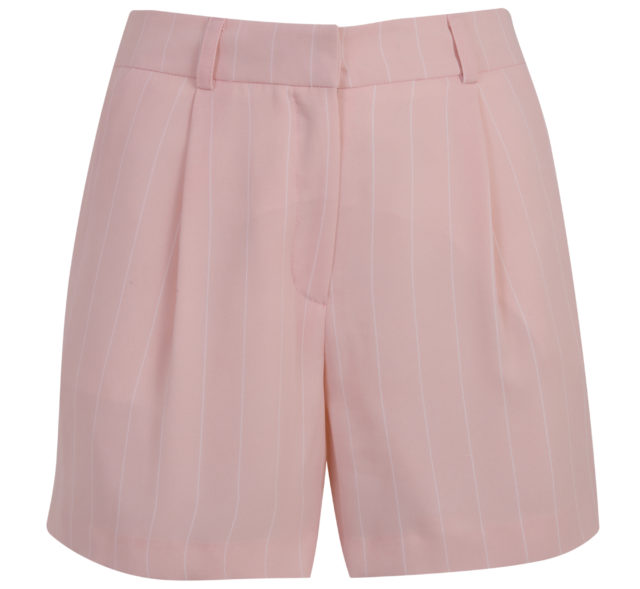 Miss Selfridge Pink Stripe Print Pleated Shorts
