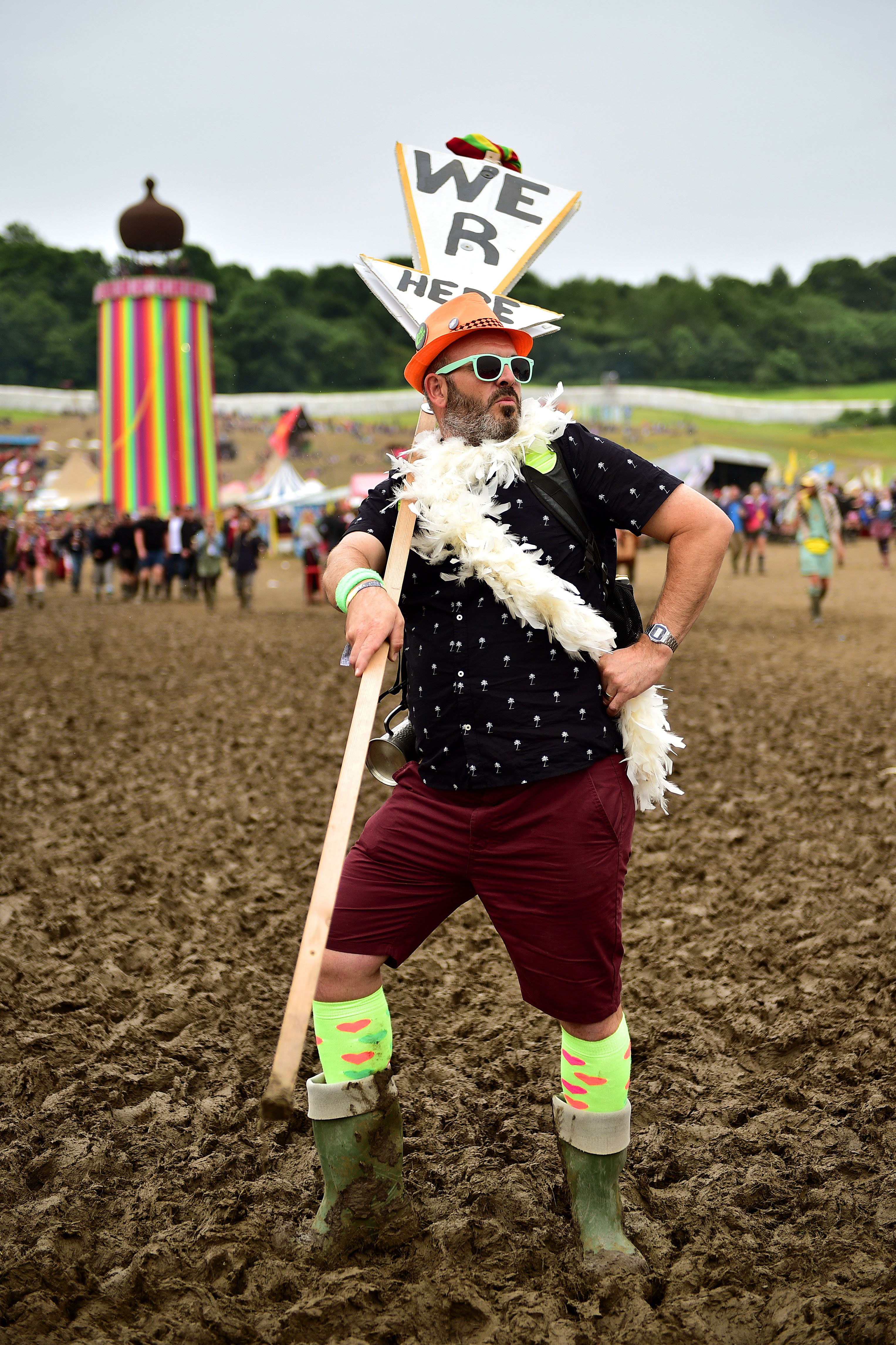 Philip Lyons, 38, from Gravesend at the Glastonbury Festival, at Worthy Farm in Somerset.