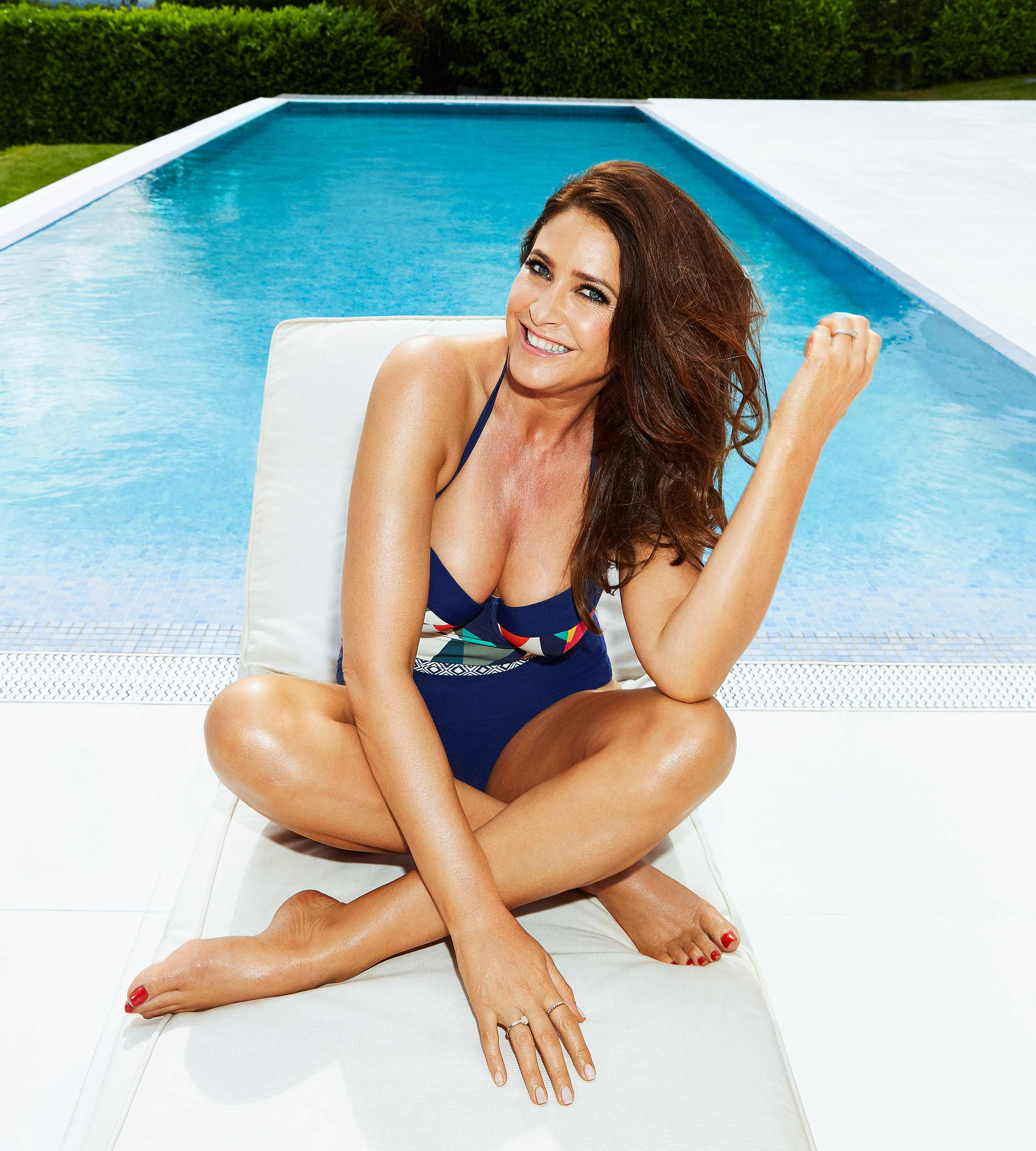 lisa snowdon wearing Simply Yours Panelled Bandeau Swimsuit