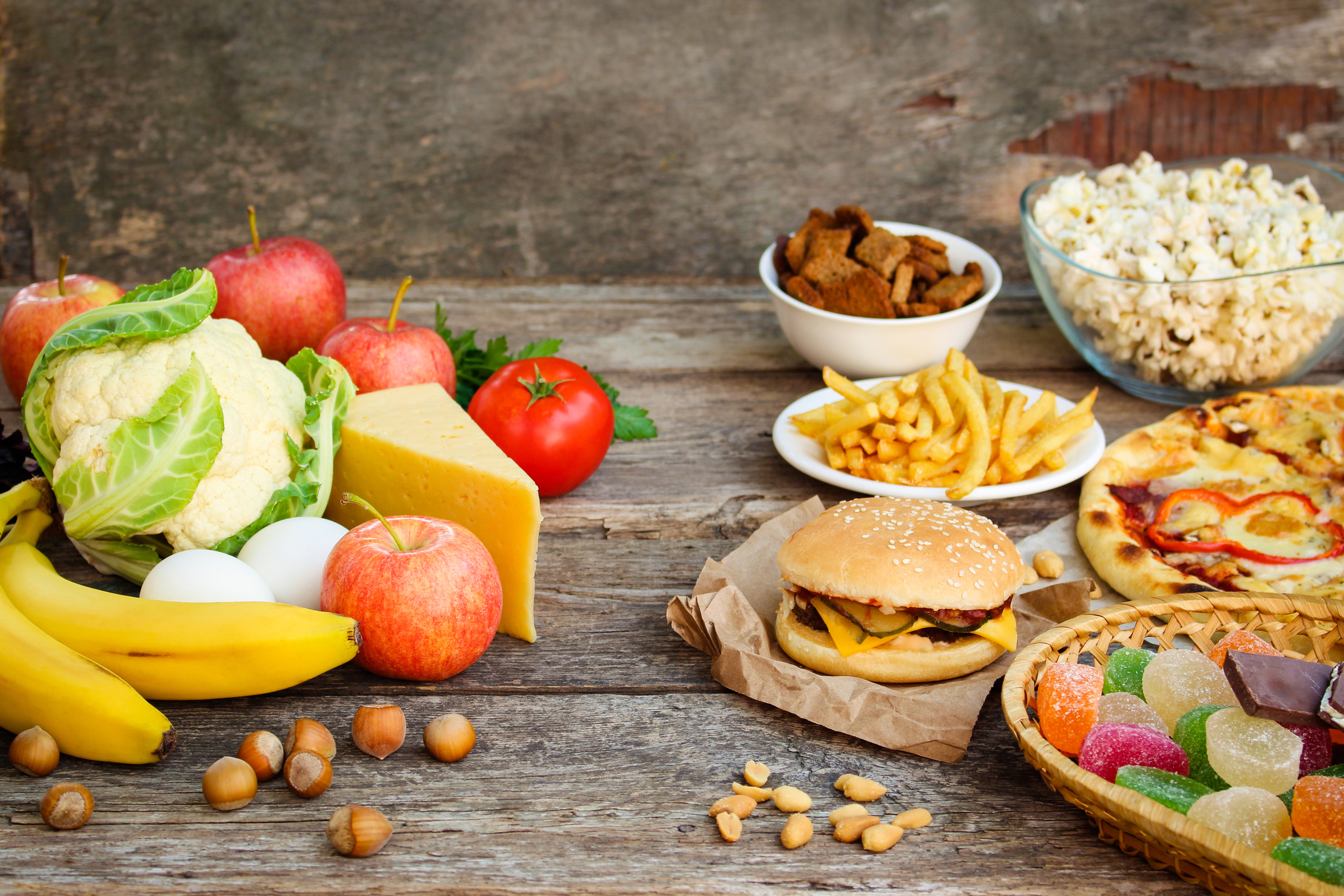 A selection of healthy and unhealthy foods