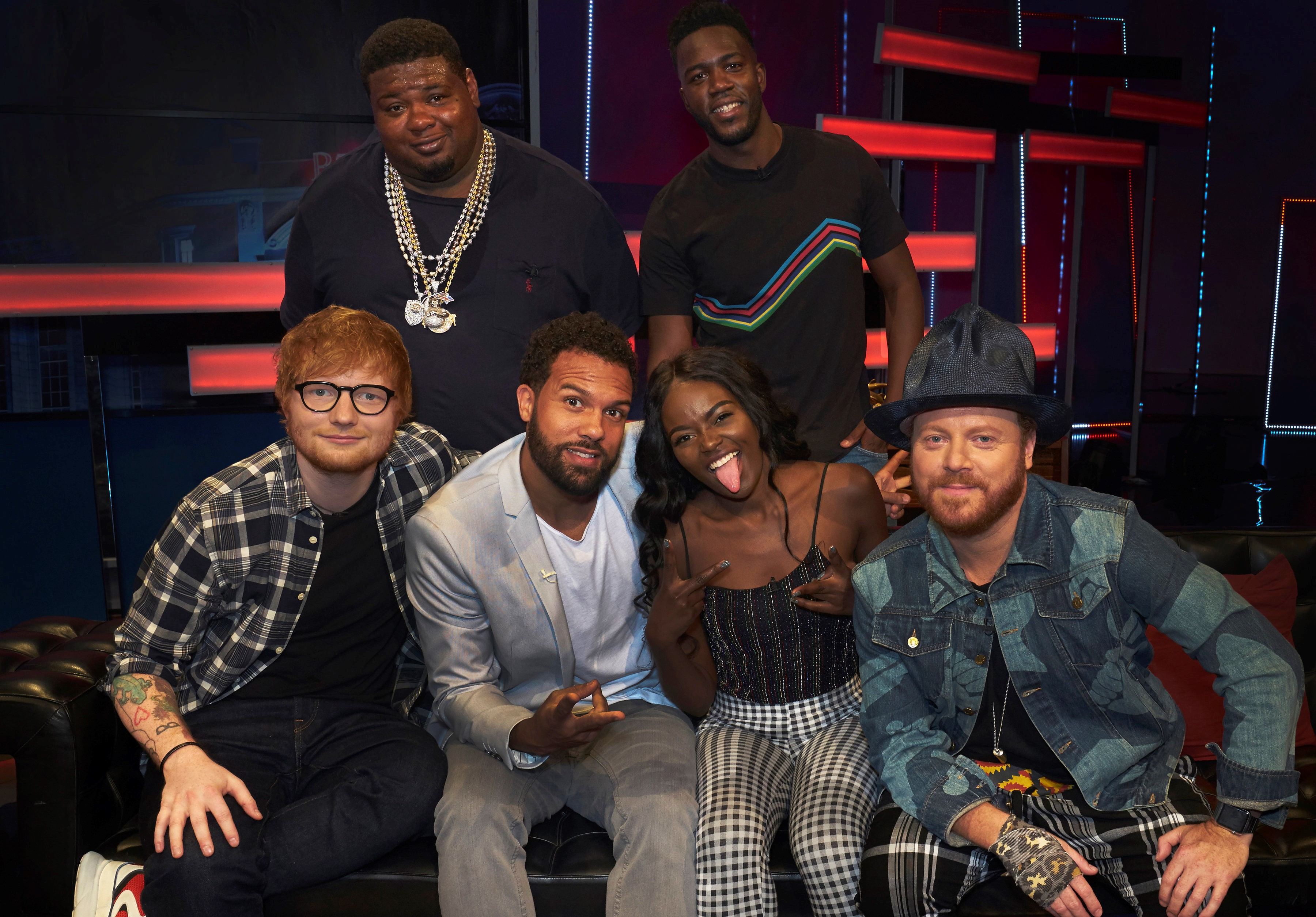 Ed Sheeran, O.T. Fagbenle, Sherrie Silver and Keith Lemon on The Big Narstie Show with hosts Big Narstie and Mo Gilligan