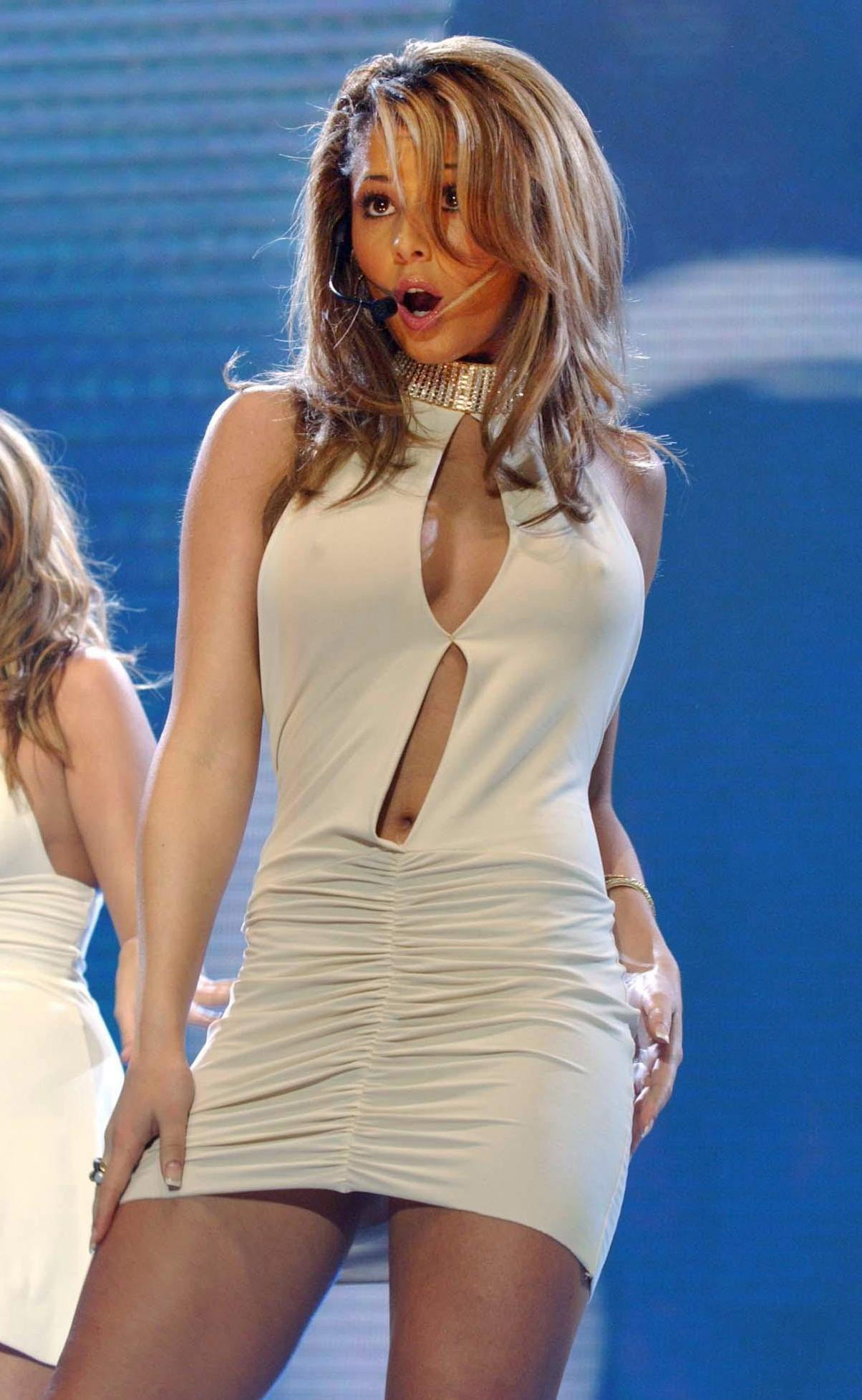 Cheryl Tweedy from Girls Aloud performs live on stage during the Smash Hits T4 Poll Winners party 2004, at Wembley Arena in north London