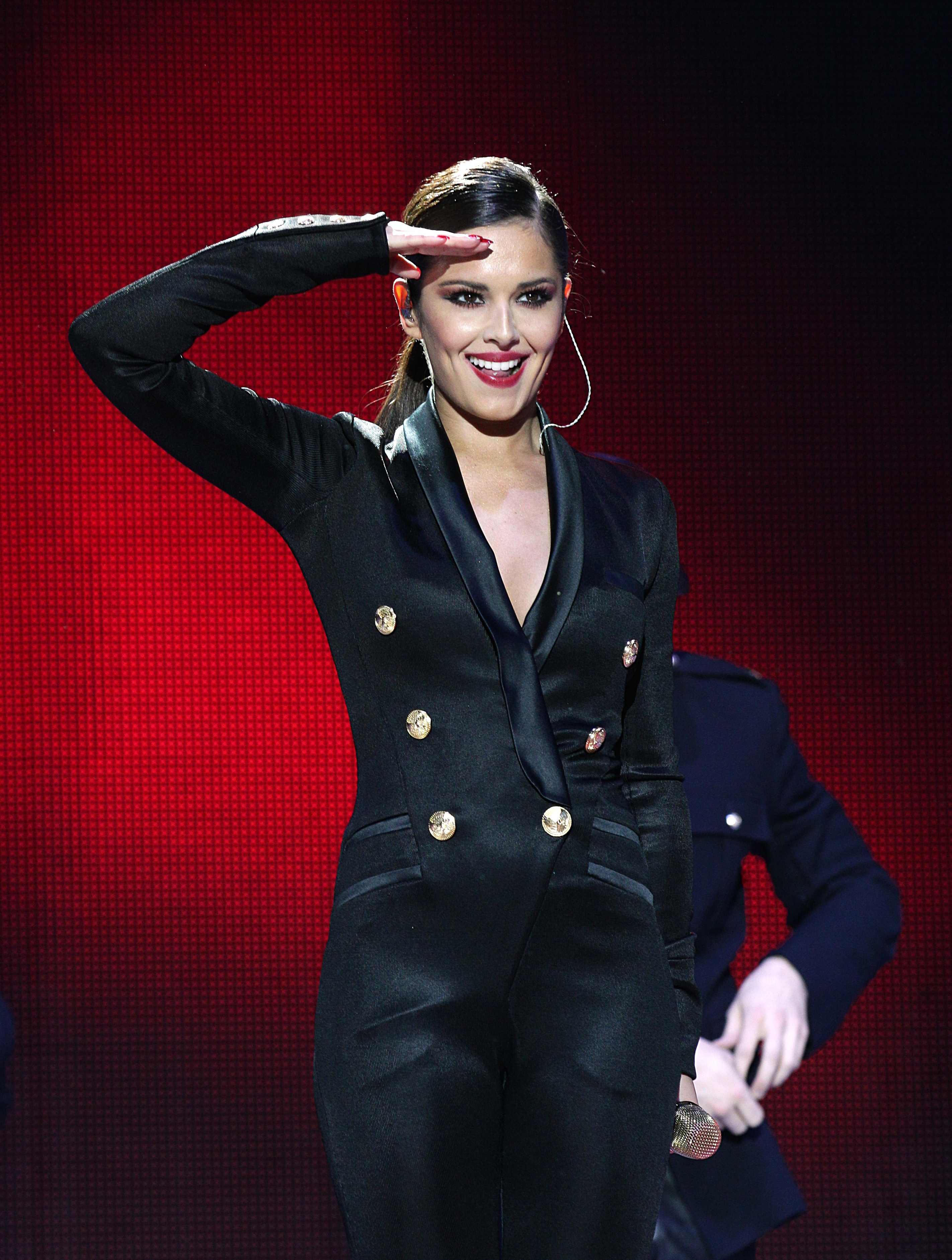 Cheryl Cole on stage during the 2012 Capital FM Jingle Bell Ball at the O2 Arena, London.