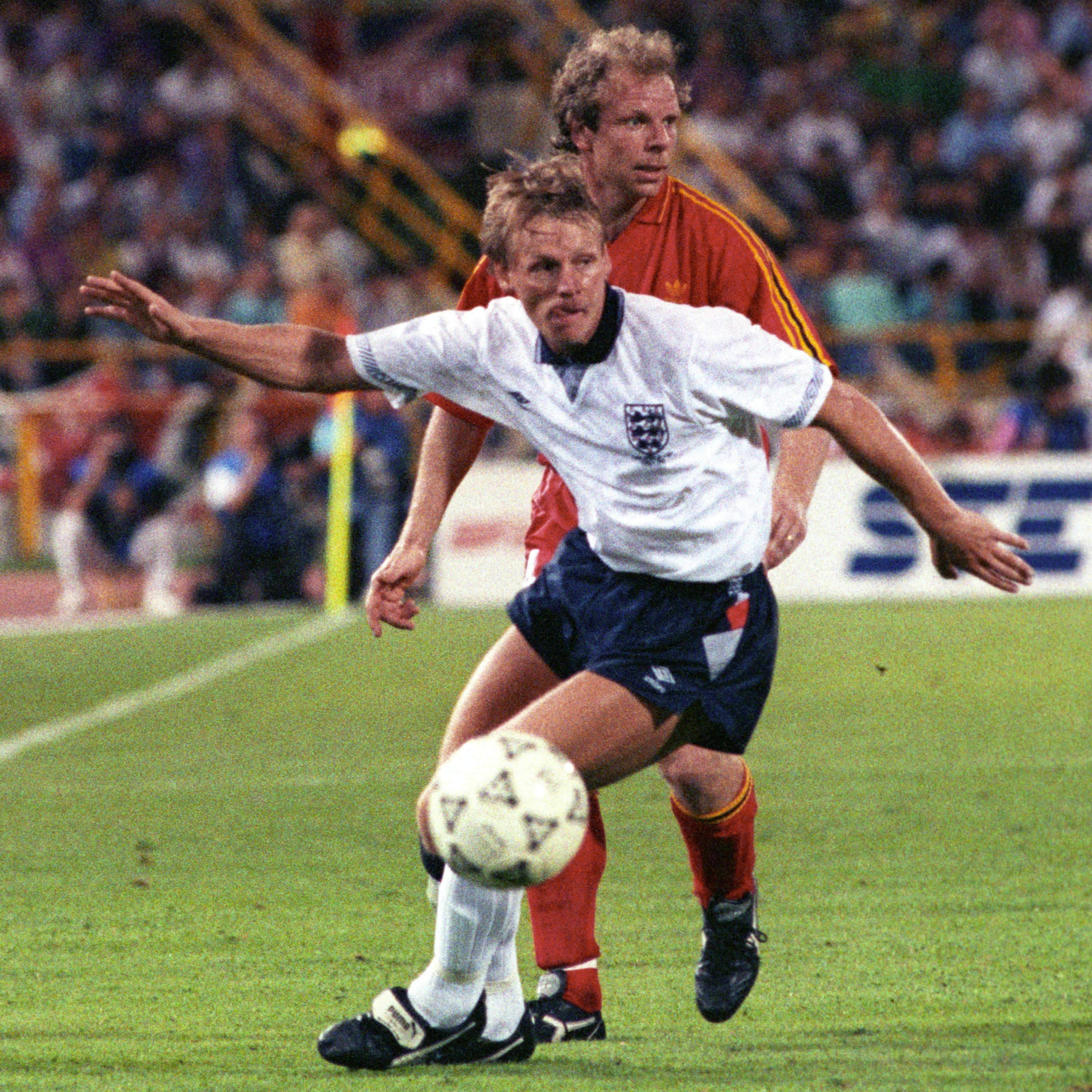 Stuart Pearce playing for England against Belgium