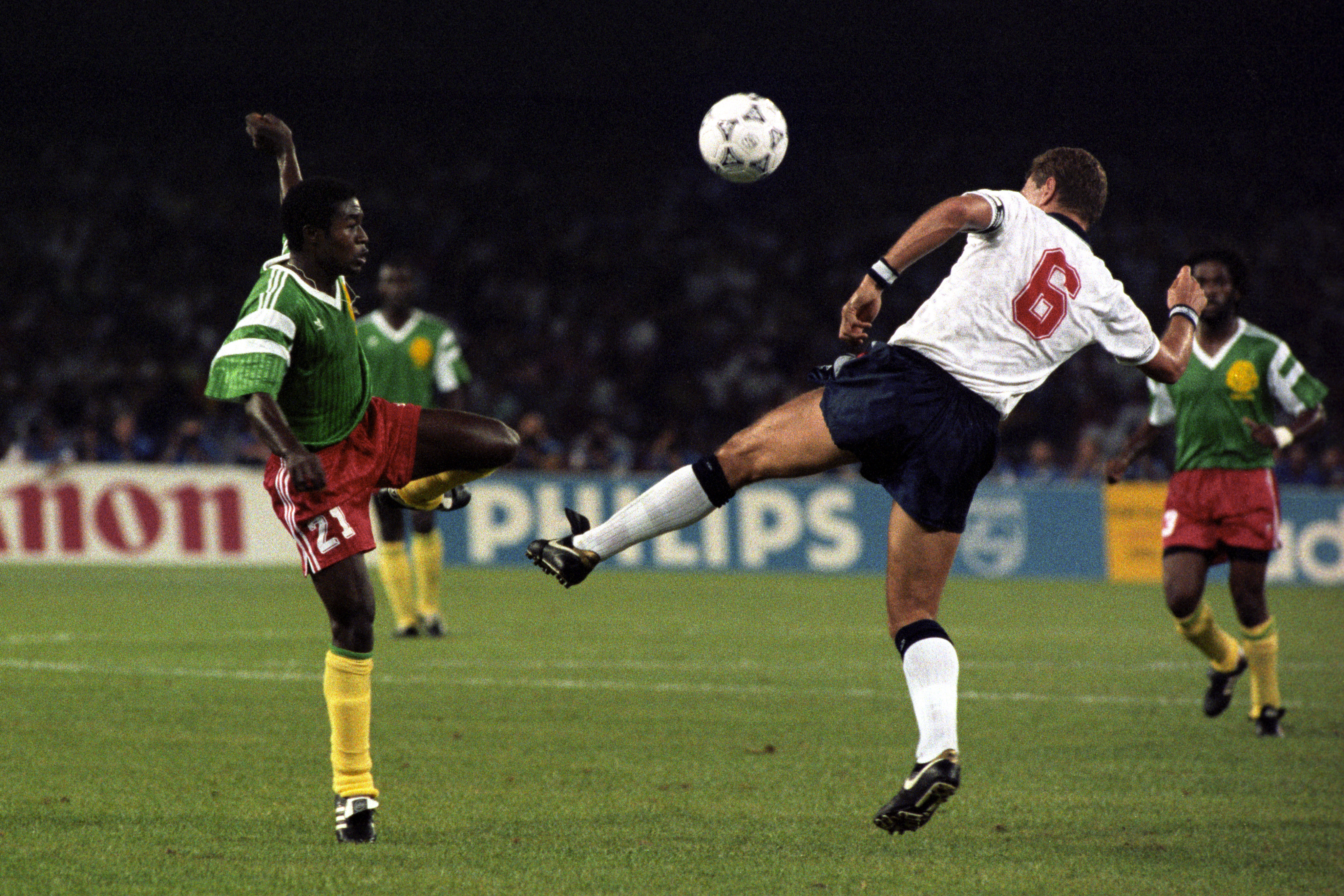 Terry Butcher playing for England against Cameroon