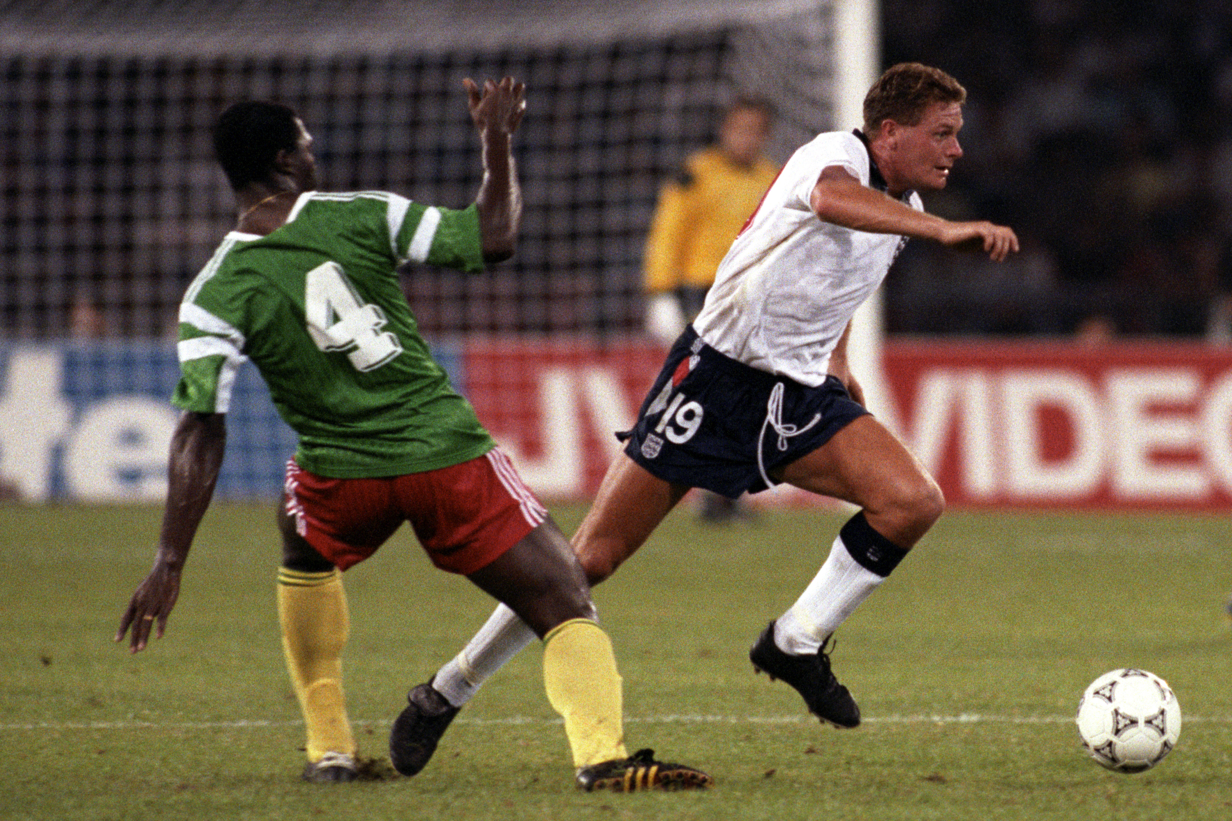 Paul Gascoigne playing for England against Cameroon