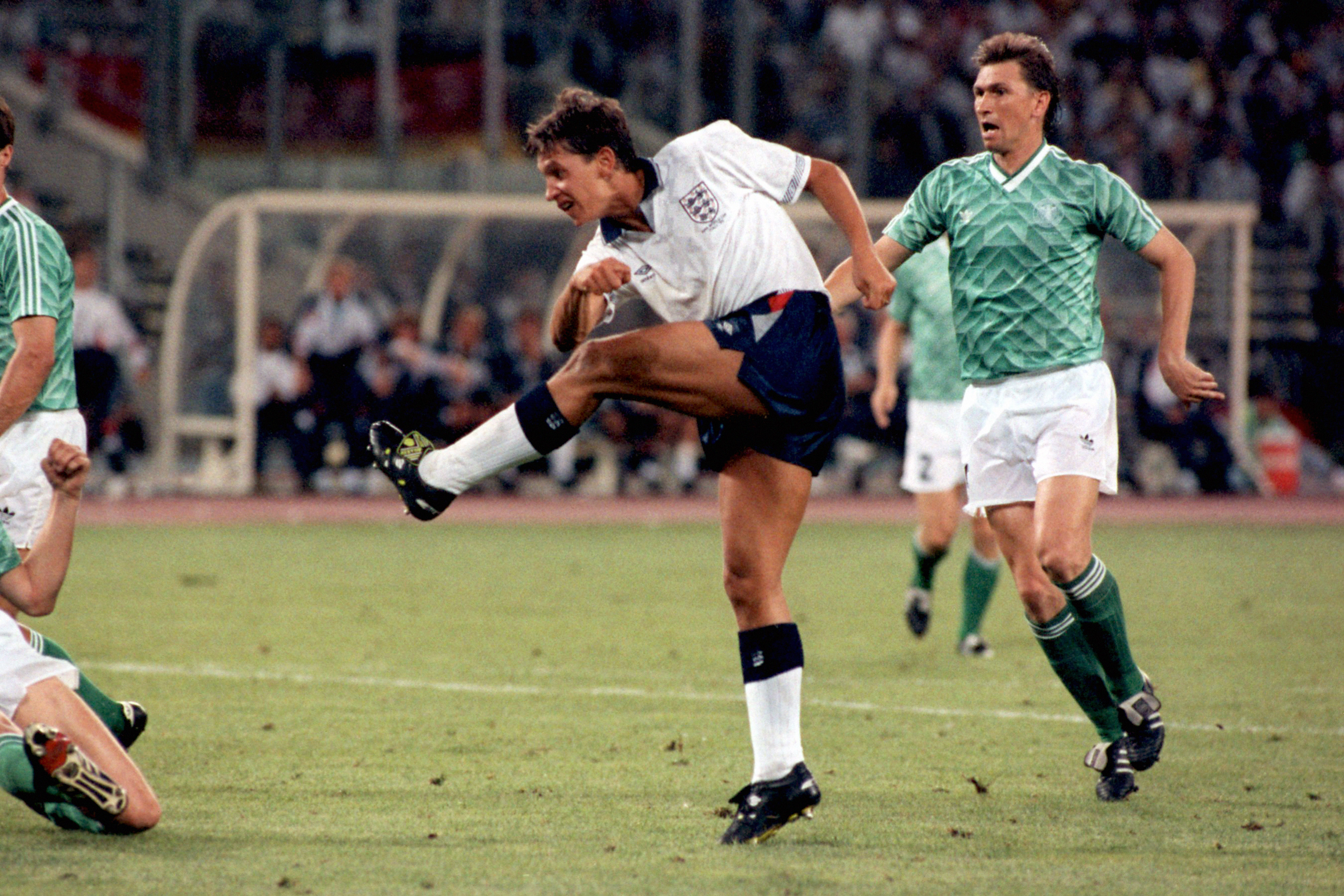 Gary Lineker scores against West Germany