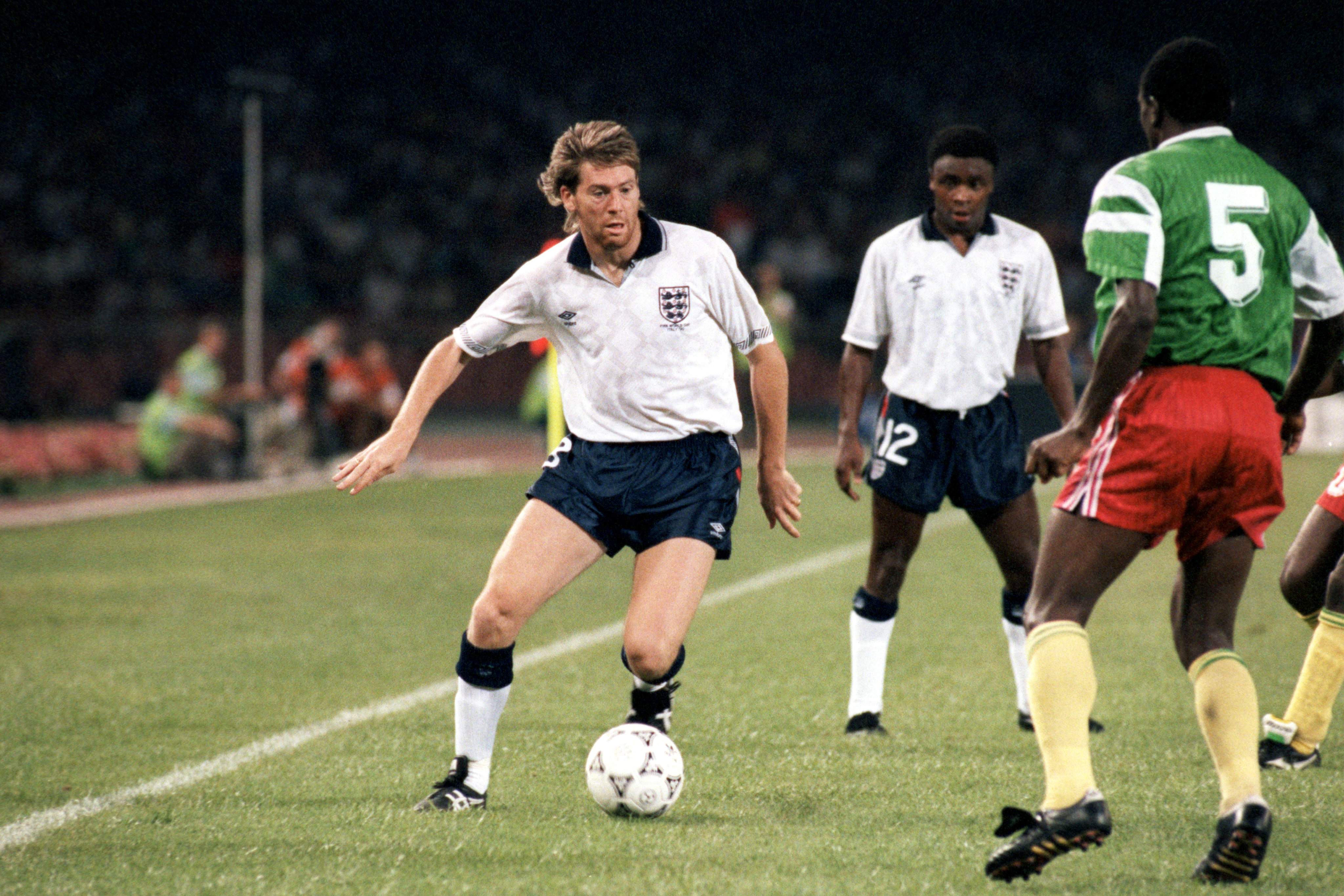 England's Chris Waddle playing against Cameroon