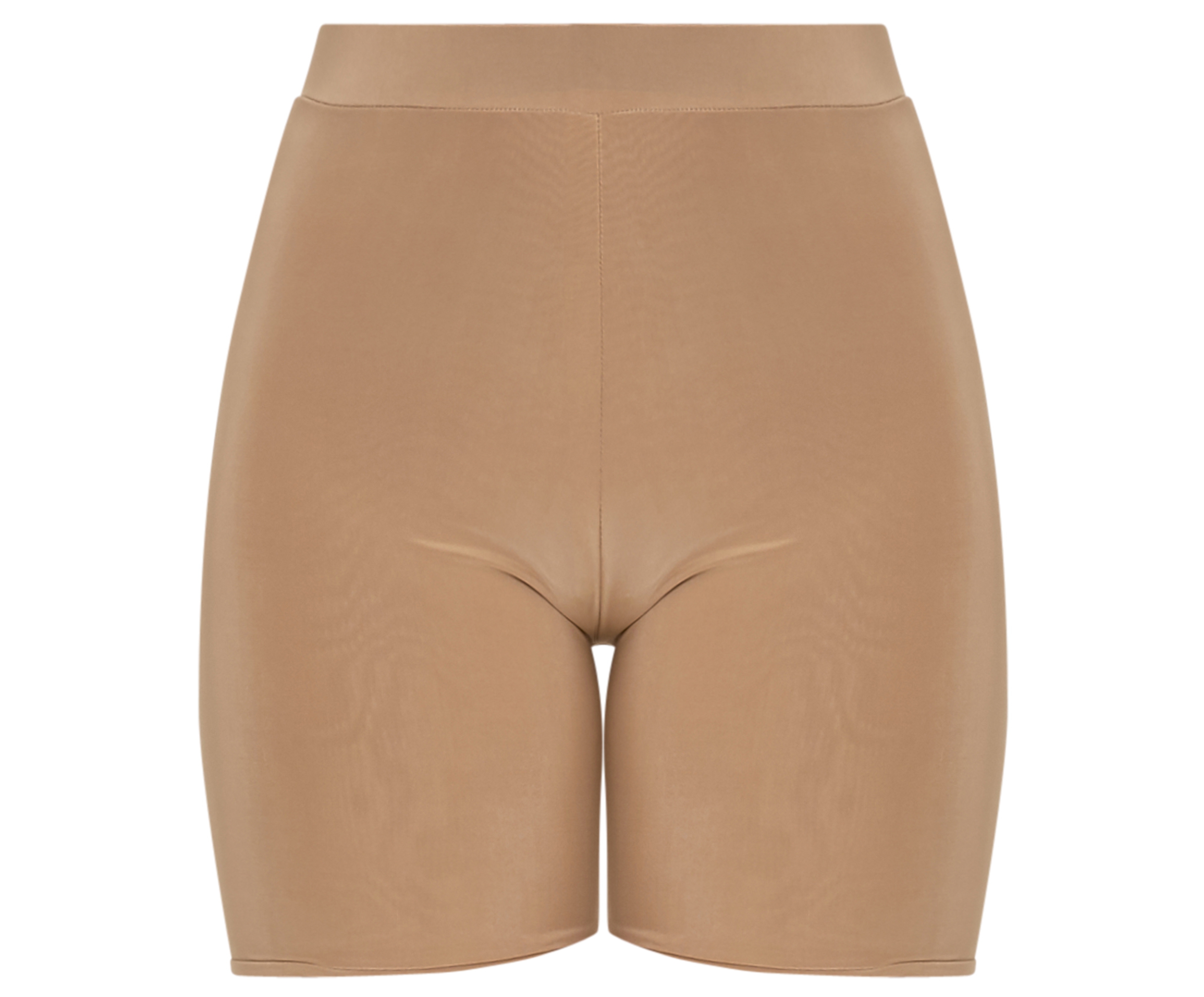 PrettyLittleThing Camel Slinky High Waisted Cycle Shorts