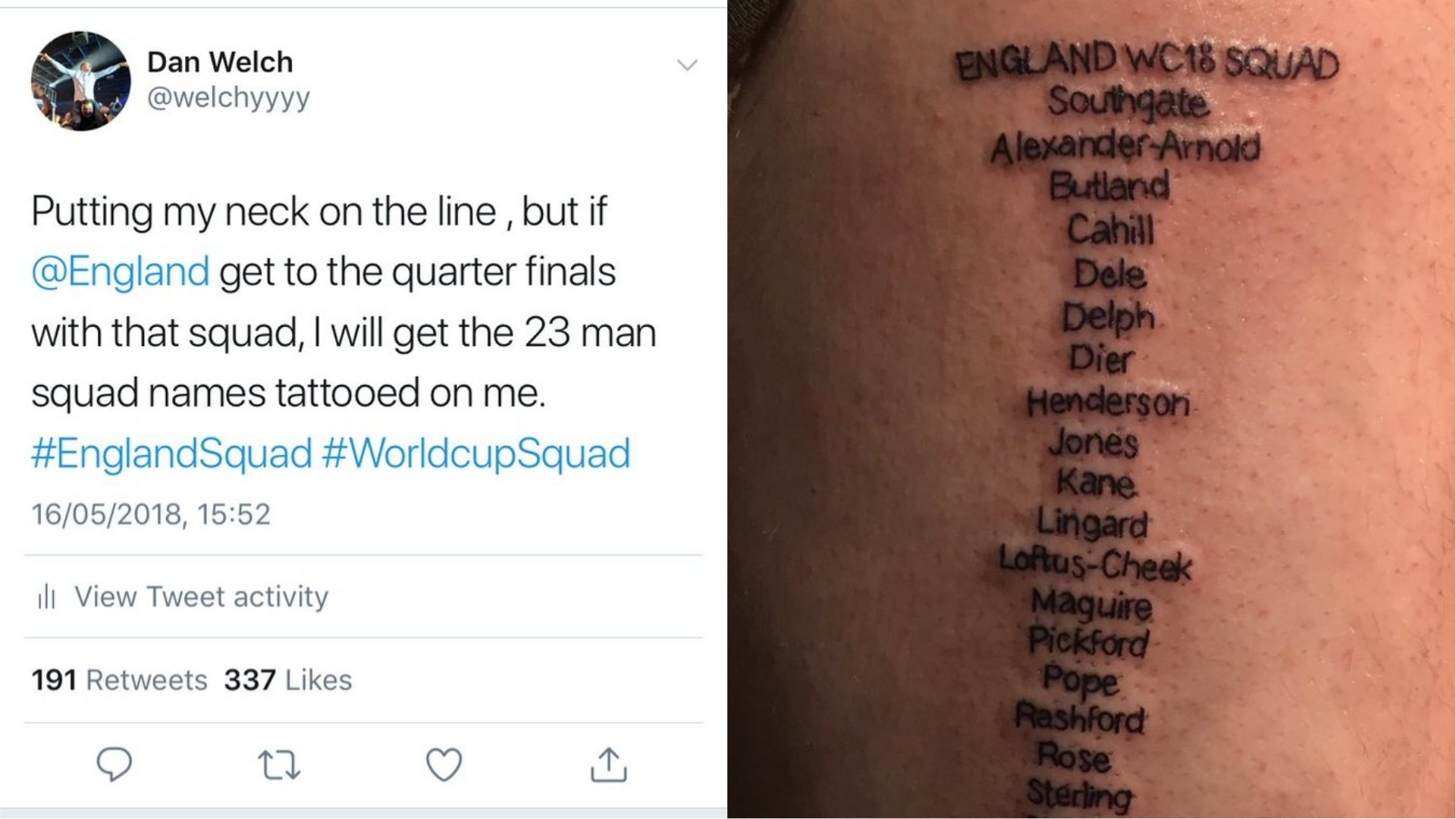 A tattoo of the England squad at the 2018 World Cup
