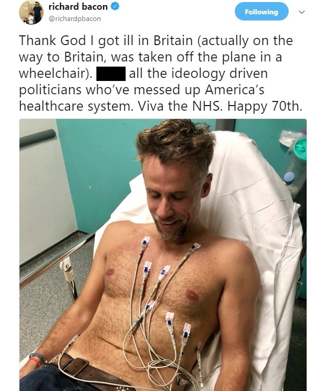 Richard Bacon tweet from hospital