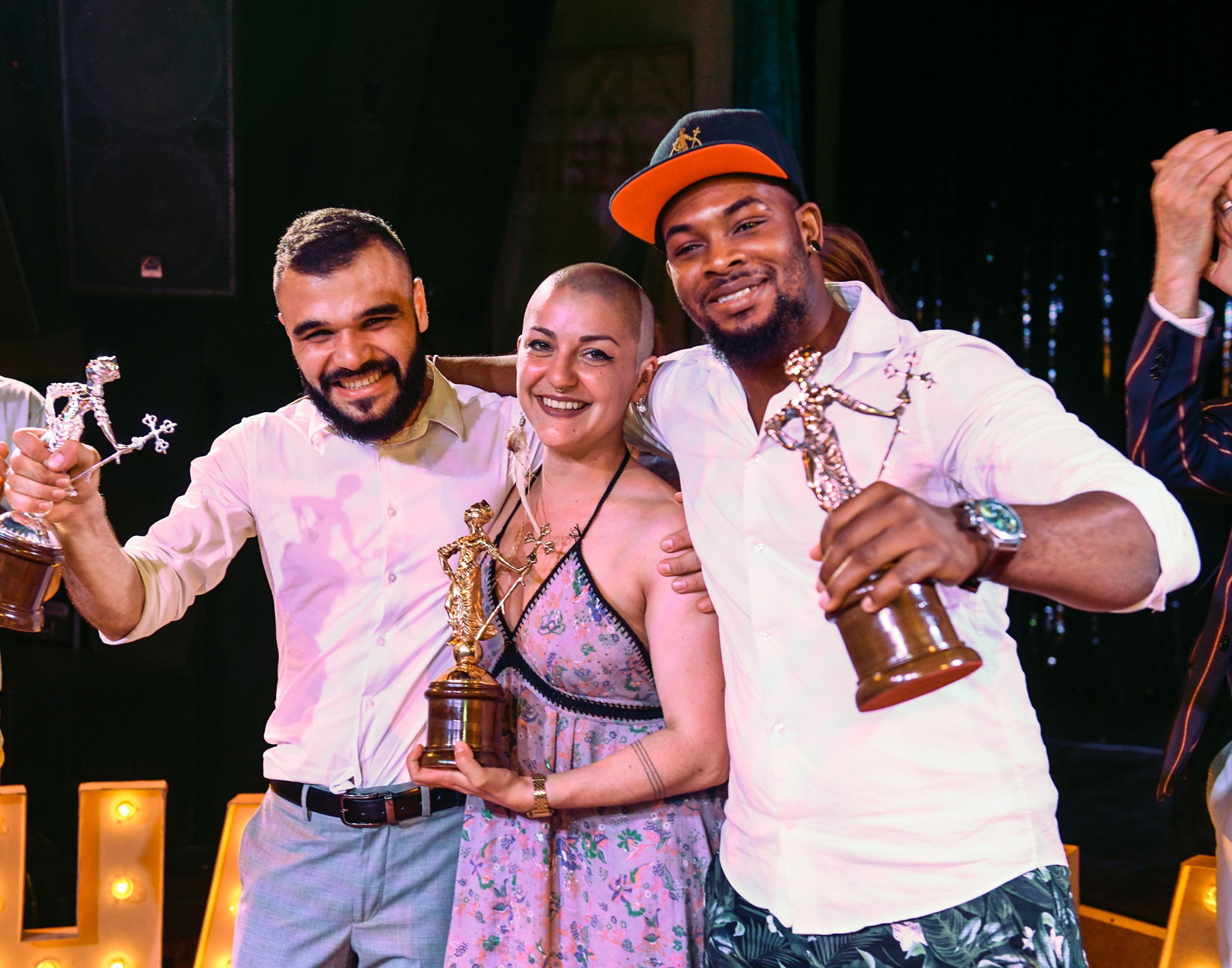From left to right: Stepan Abrahamyan, from Armenia, second place; Ninon Fauvarque, from France, first place; Johnson Wisdom Dogbey, from Ghana, third place (Havana Club/PA)