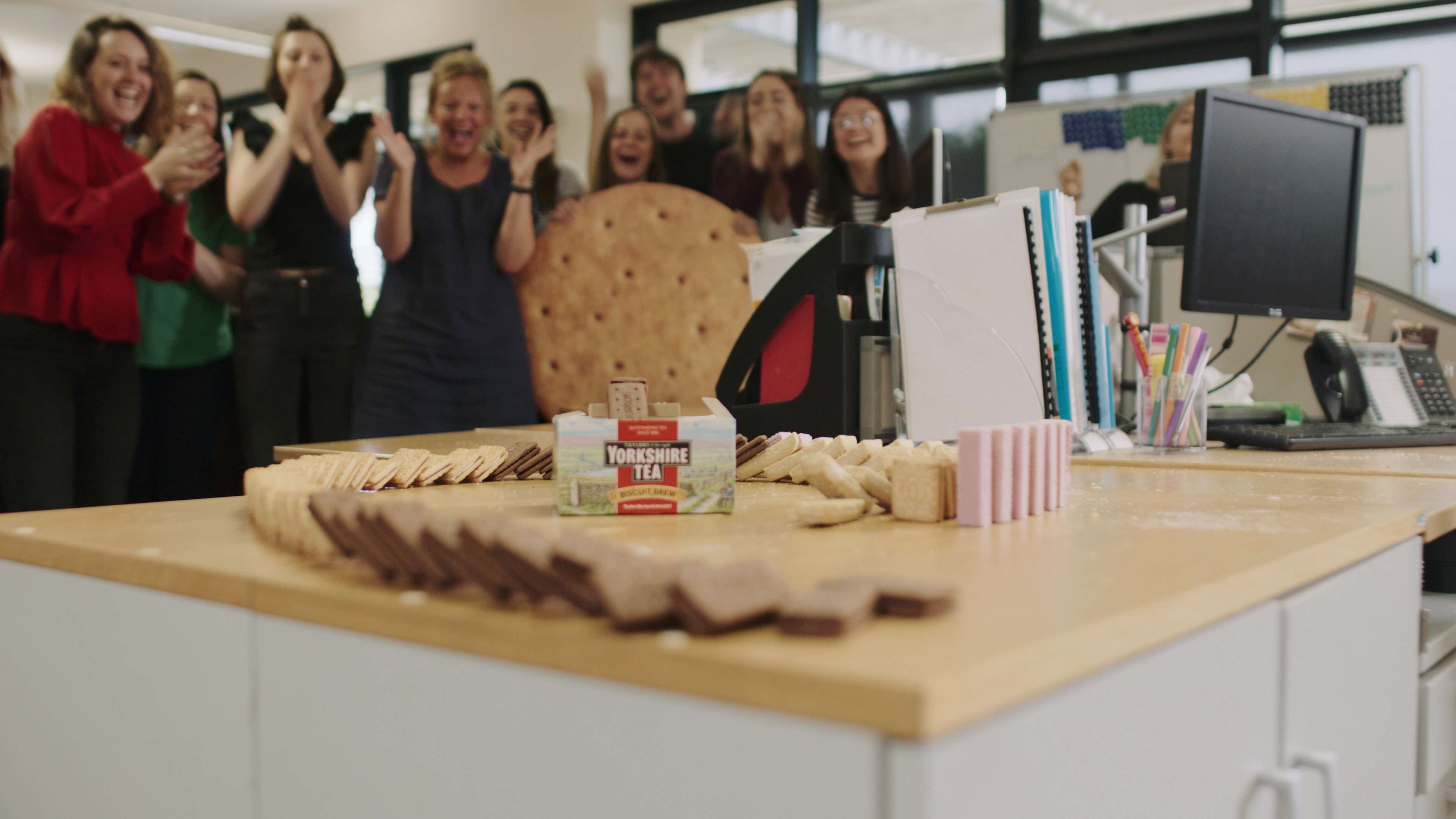 Yorskhire Tea's domino run constructed from biscuits