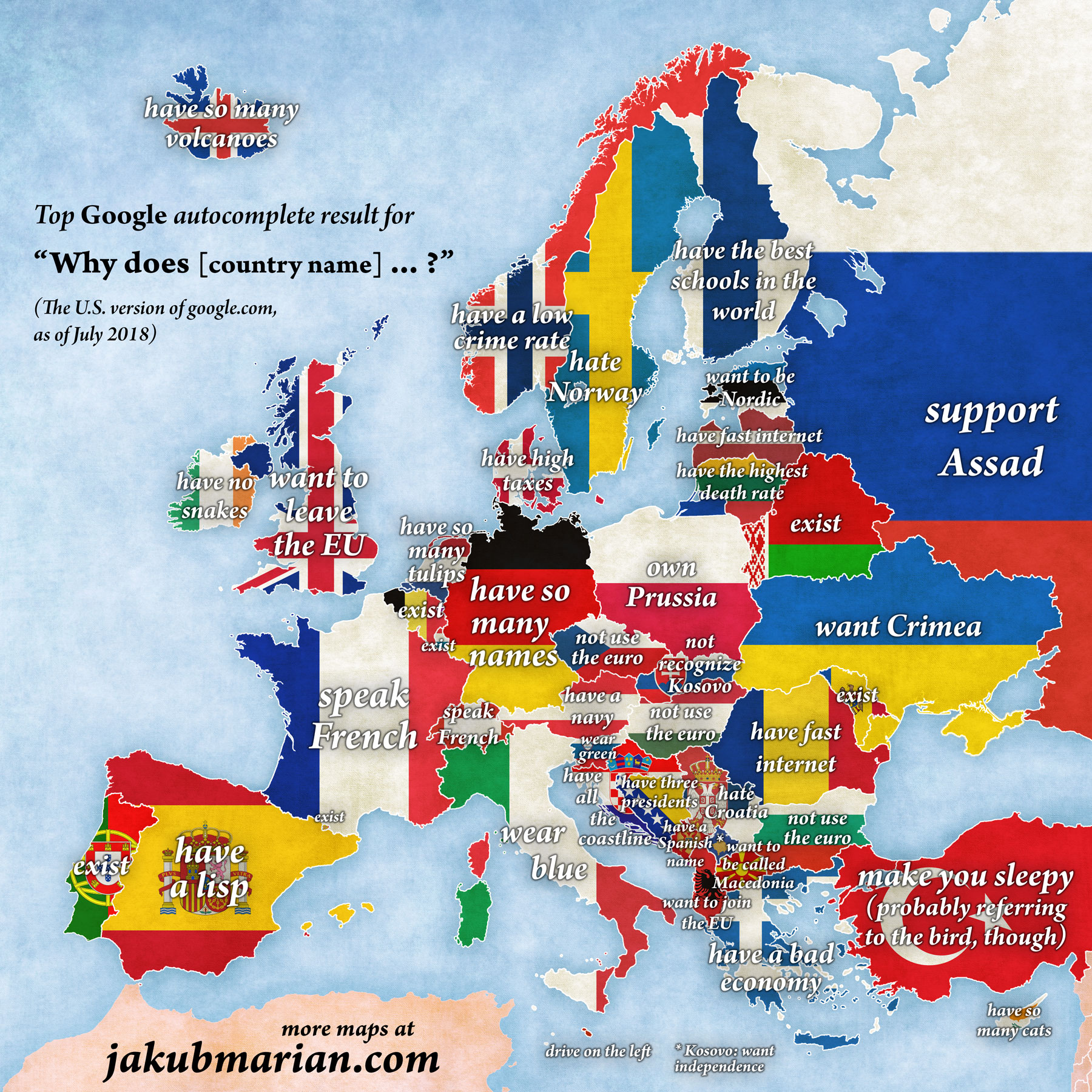 The map of autocomplete answers