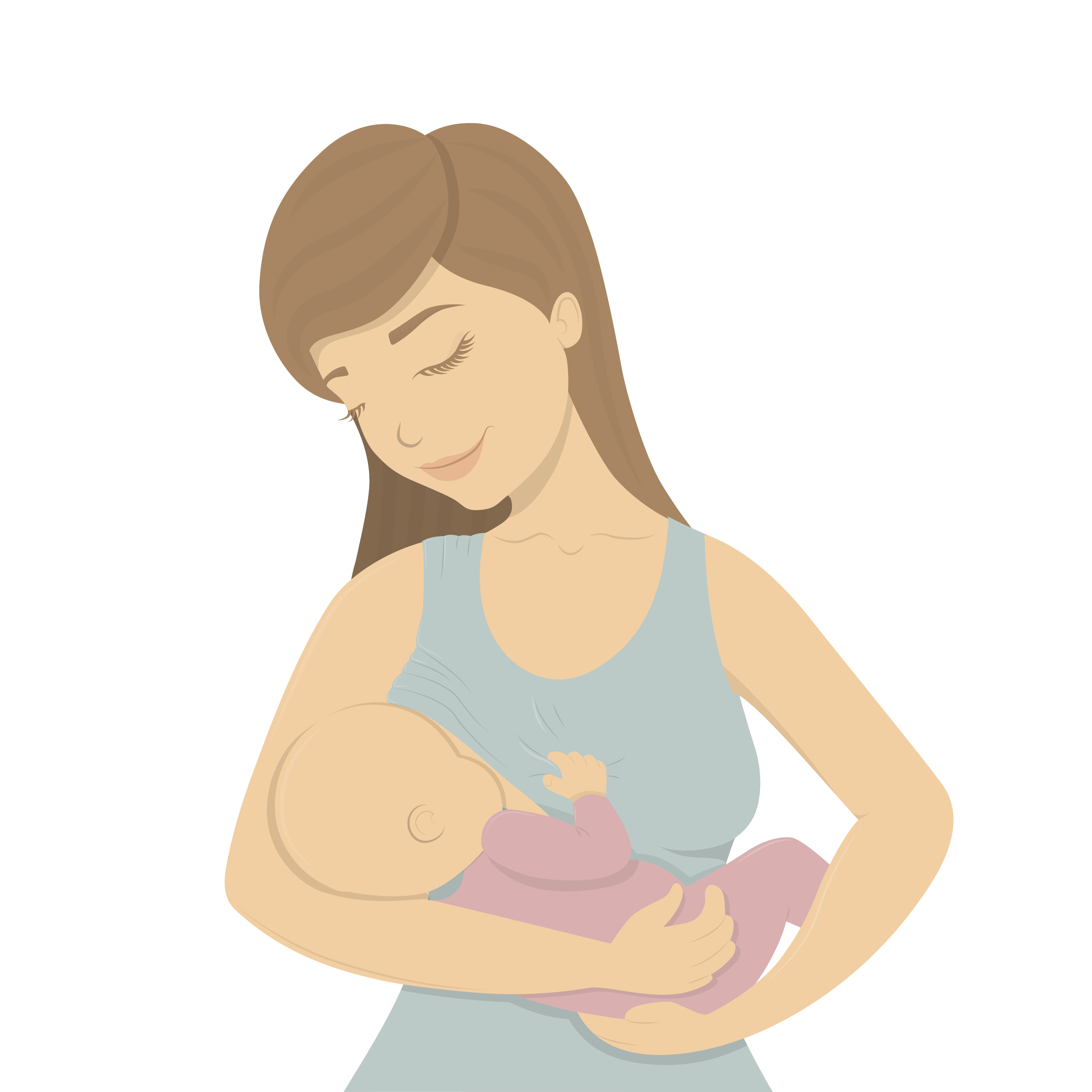 Beautiful mother breastfeeding her baby child holding him in her caring hands. Cartoon lactation vector illustration.