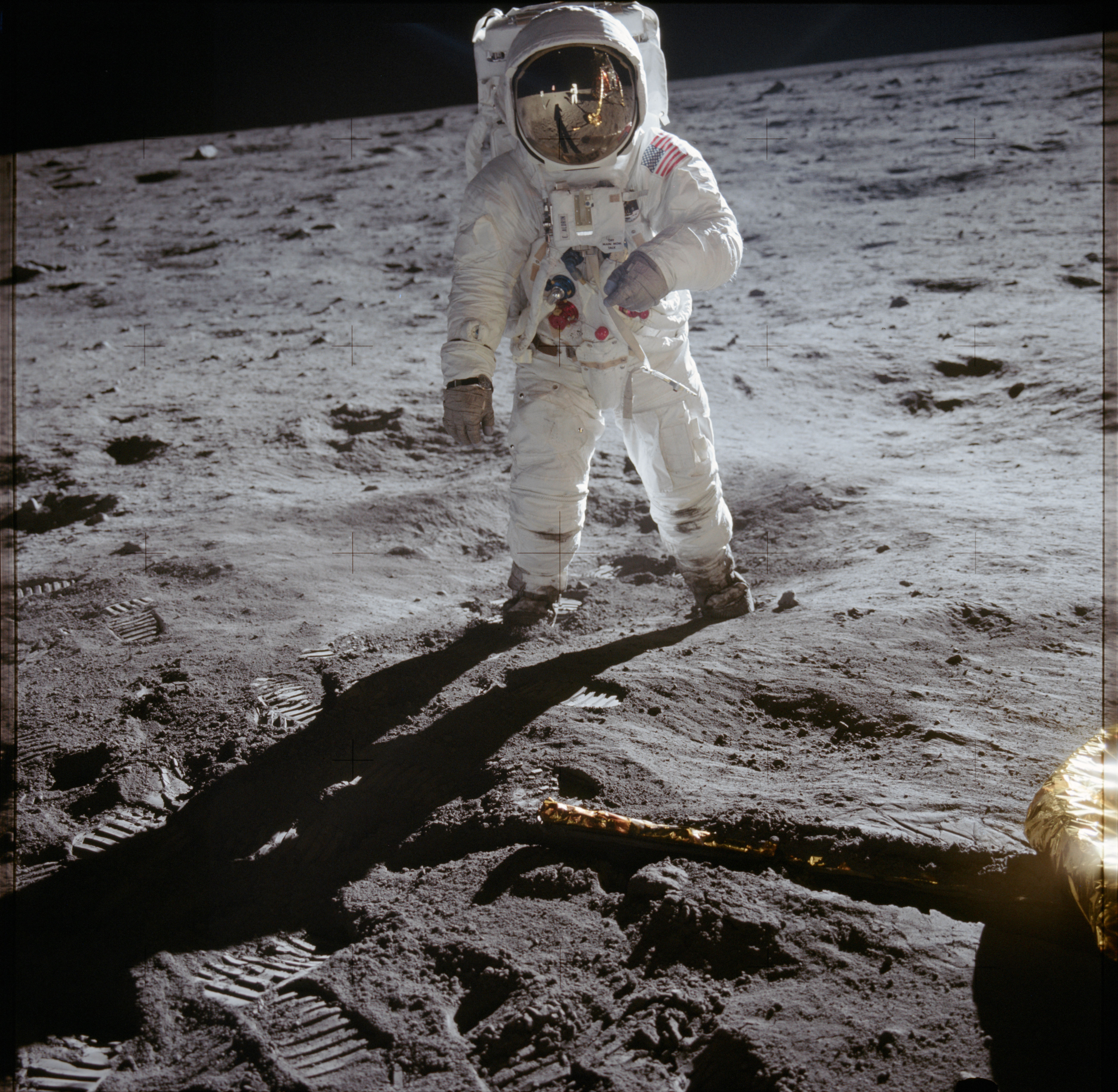 Buzz Aldrin on the surface of the Moon