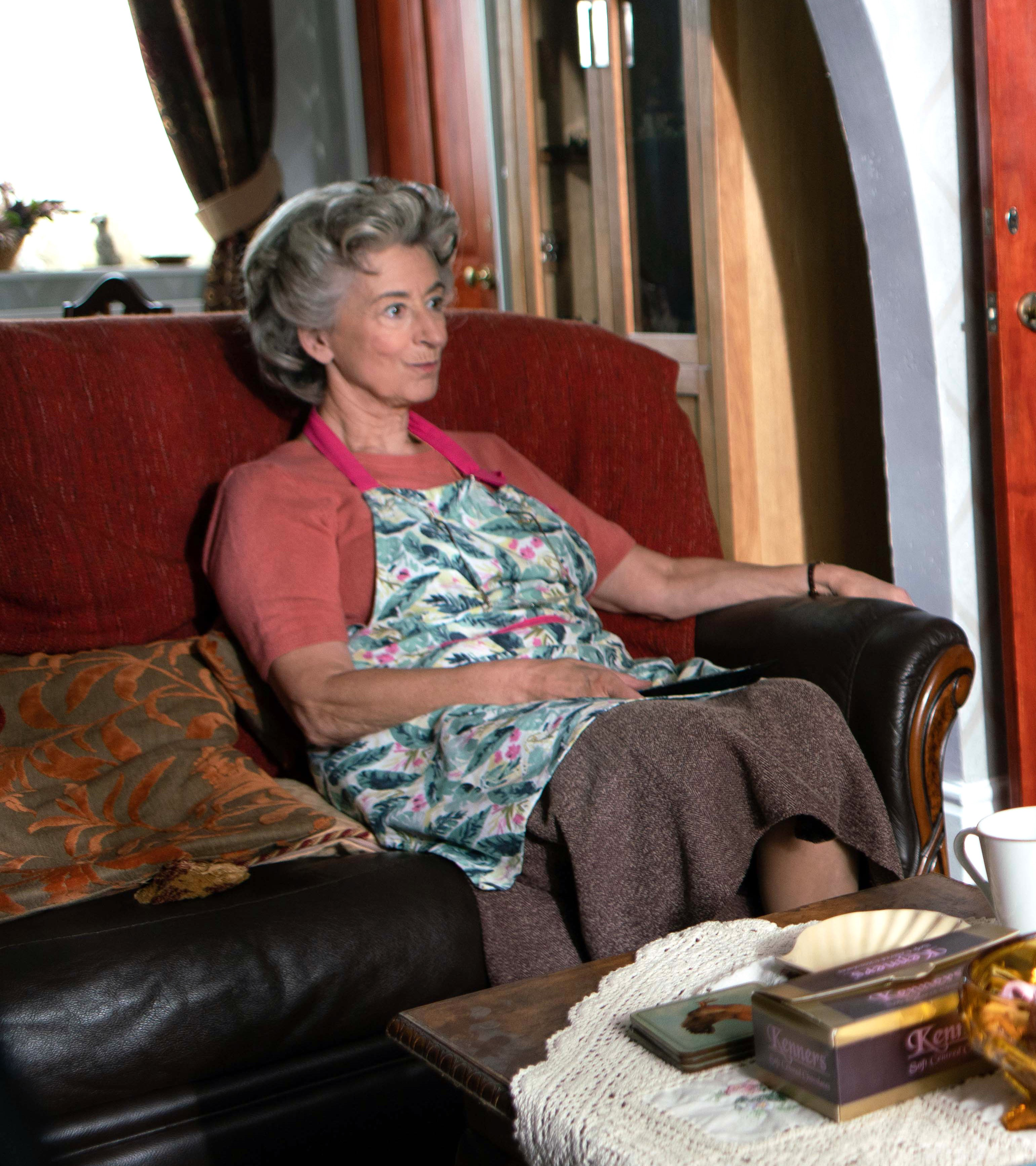 Maureen Lipman in character on the cobbles (Coronation Street)