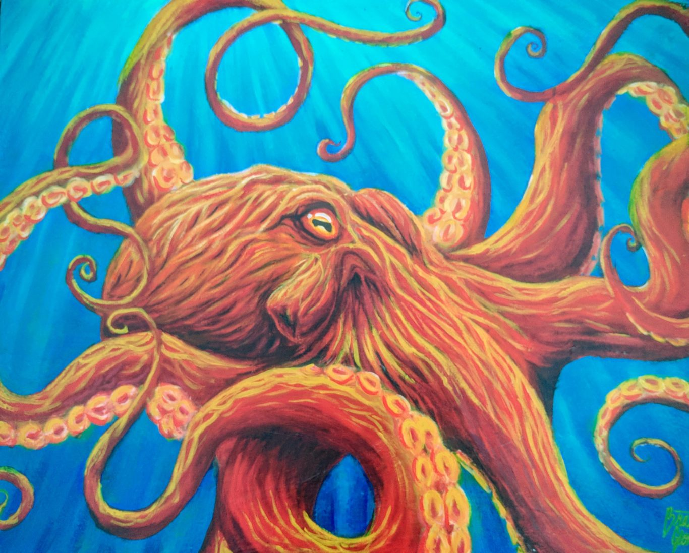 A painting of an octopus