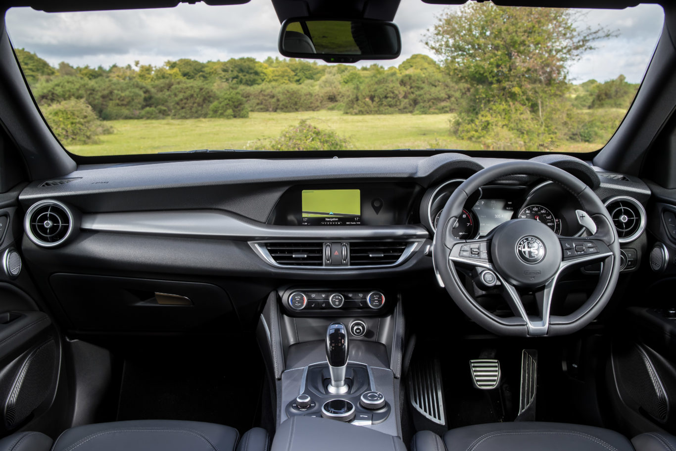 The interior of the Stelvio looks good, but lacks to high-end materials used by rivals