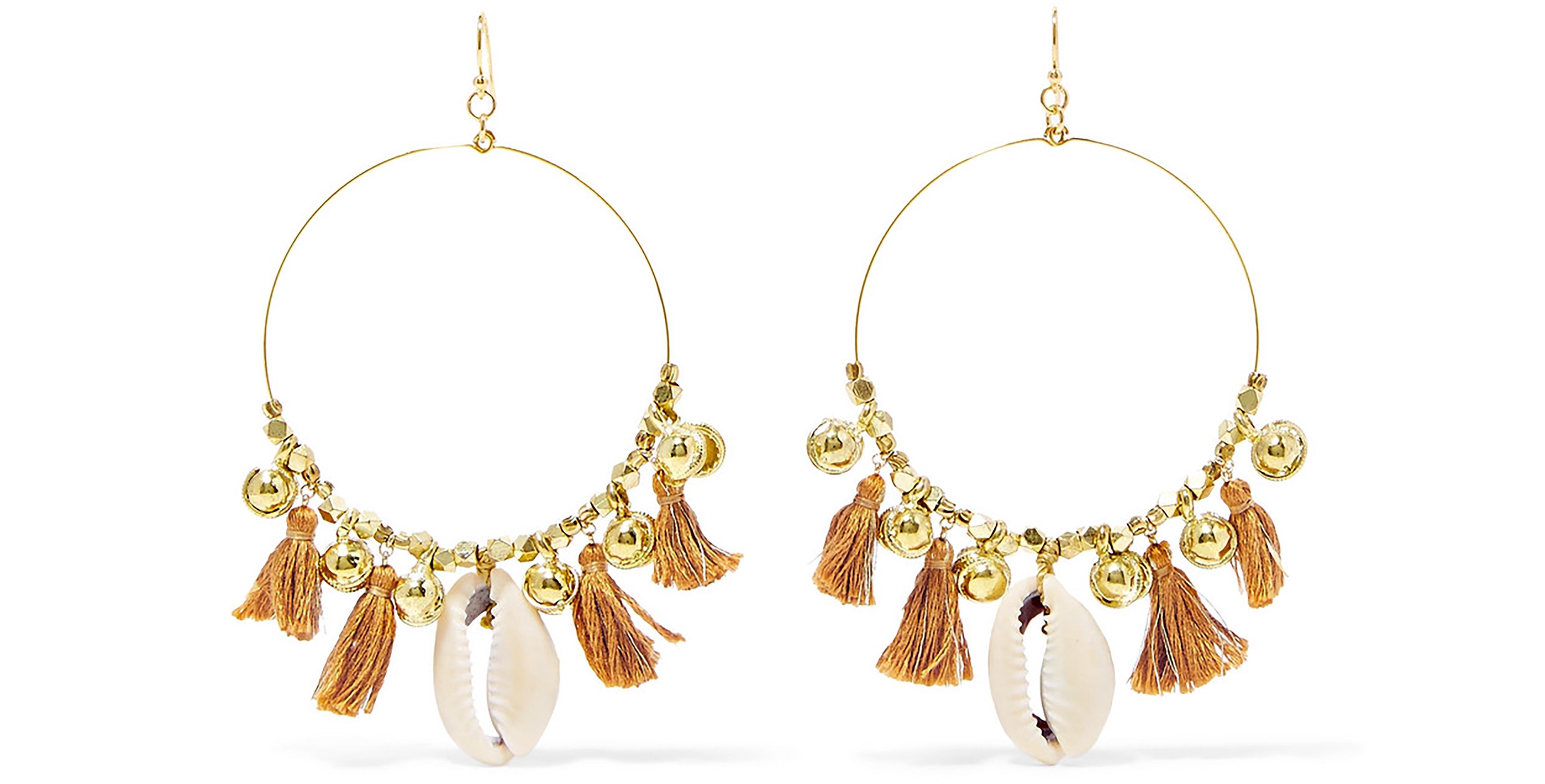 Chan Luu Tasseled Gold Tone Shell Earrings