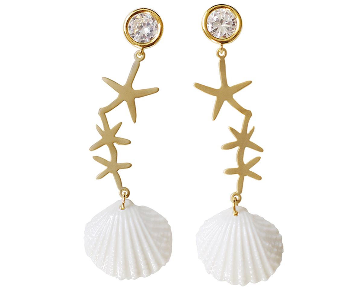 The Pommier Poporcelain Crystal Star Seashell Earrings